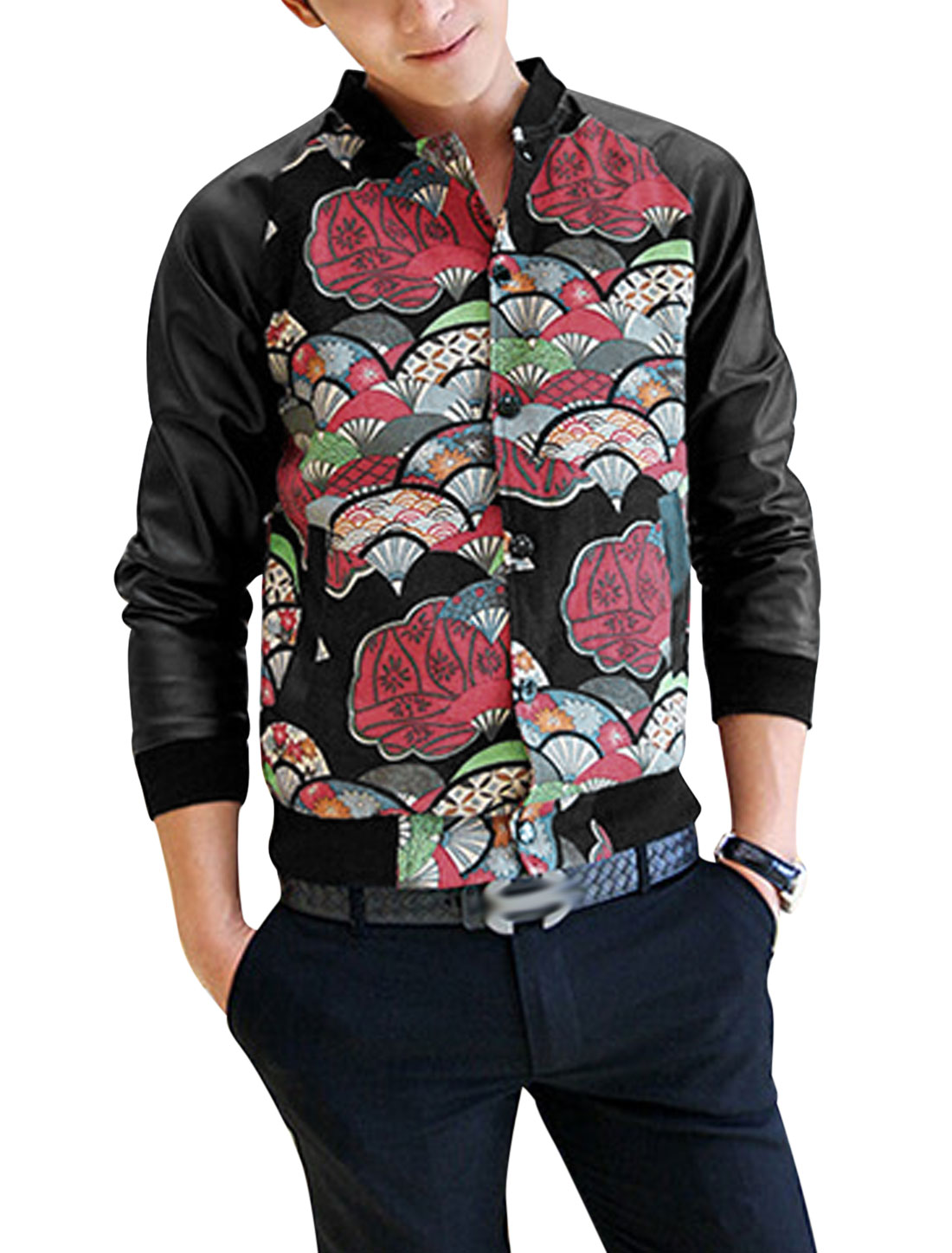 Men Fan Pattern Imitation Leather Sleeve Casual Varsity Jacket Black Multicolor S