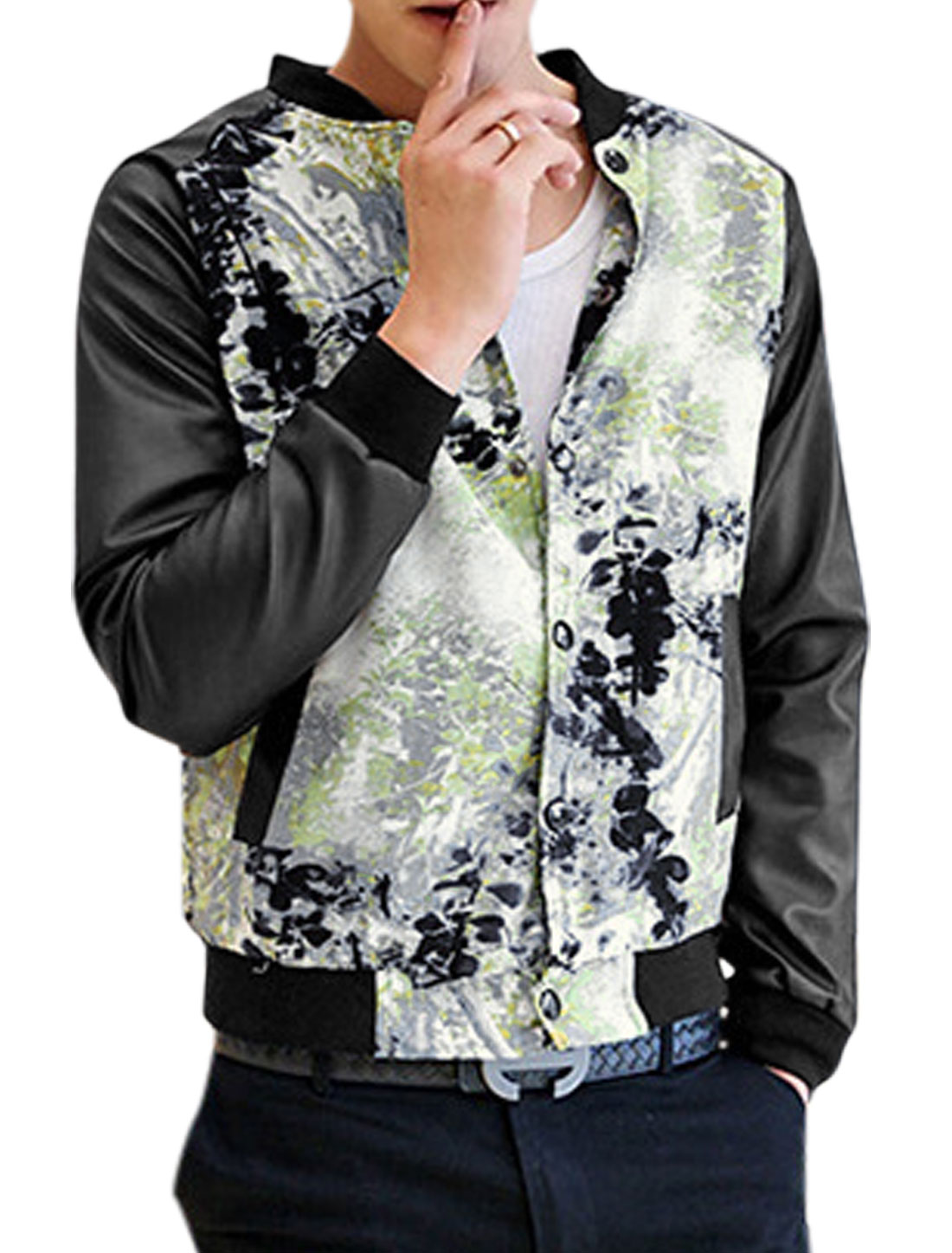 Men Ink Wash Pattern Single Breasted Casual Baseball Jacket Multicolor S