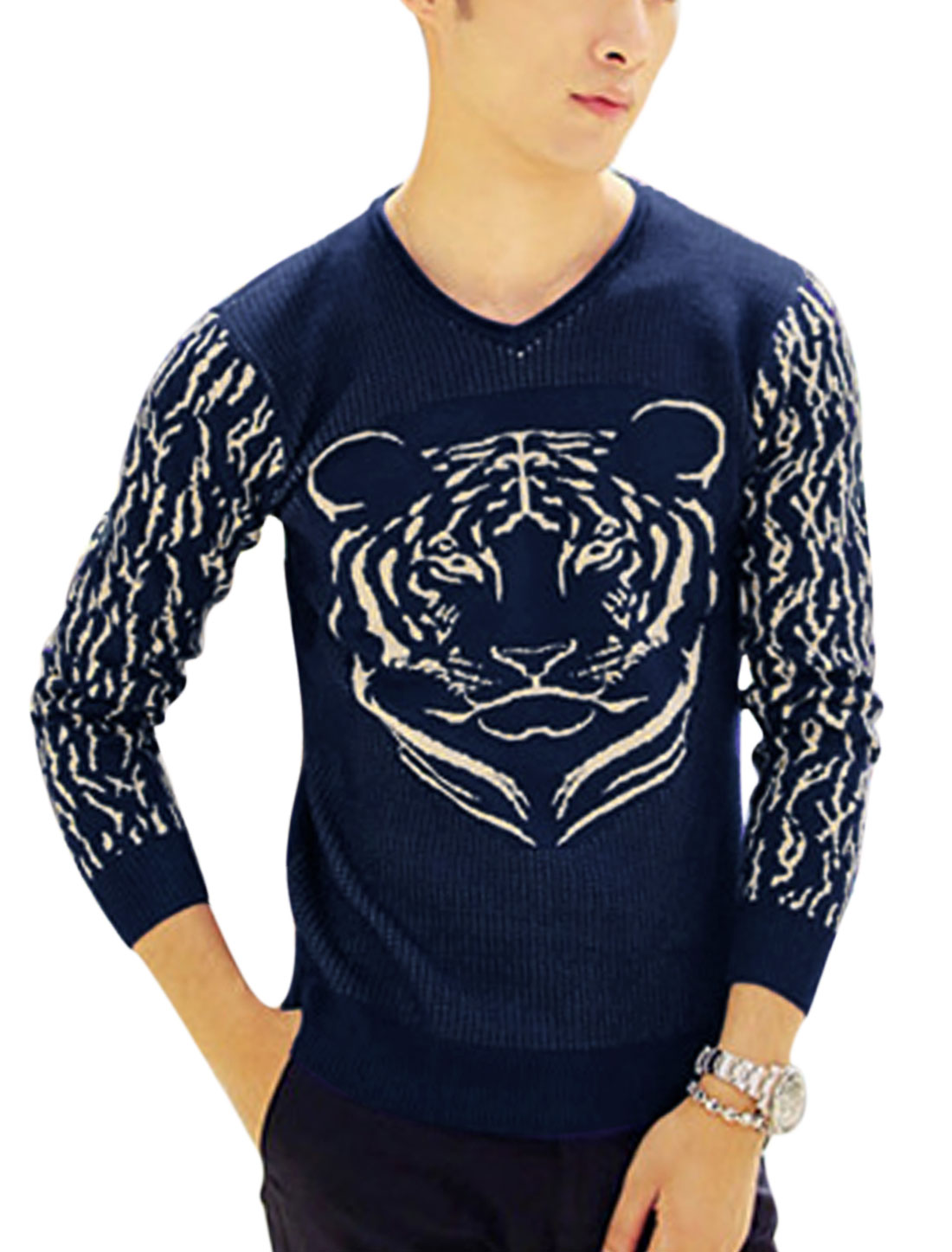 Man Navy Blue Long Sleeves V Neck Pullover Slim Fit Casual Knit Shirt S