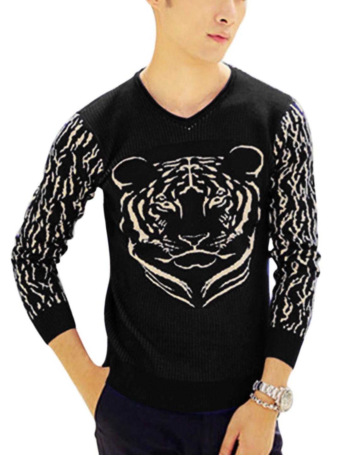 Man Black Long Sleeves V Neck Slipover Slim Fit Tiger Pattern Knit Shirt S