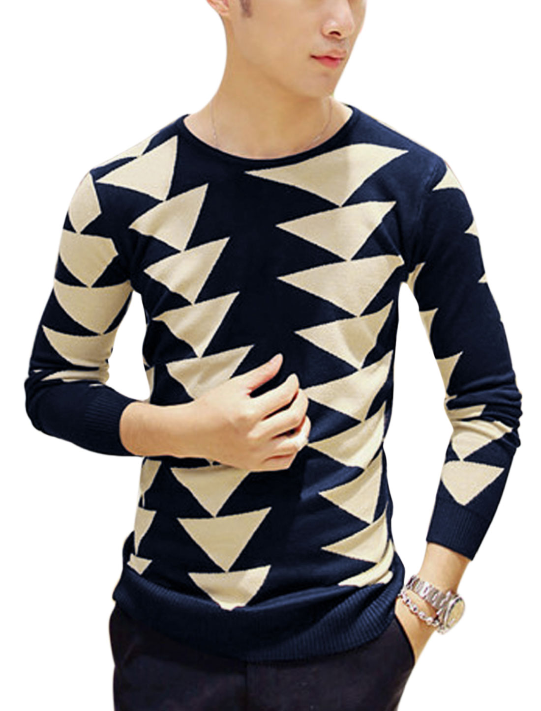 Man Navy Blue Beige Long Sleeves Pullover Round Neck Ribbed Trim Knit Shirt S
