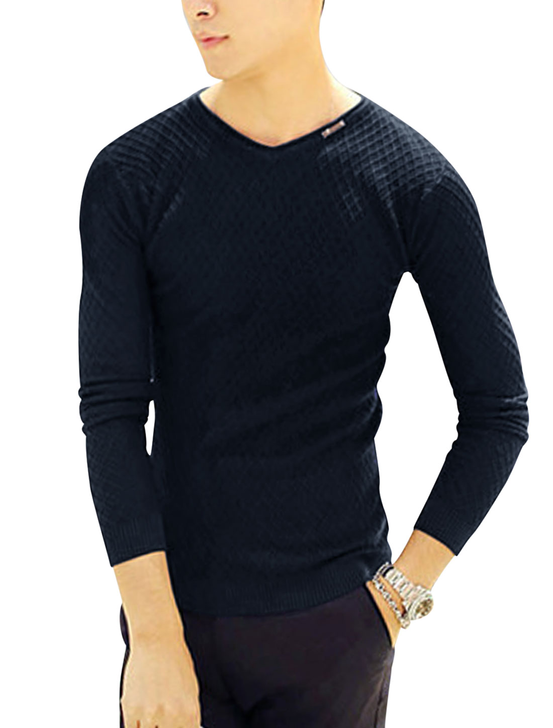 Man Navy Blue Long Sleeves Pullover V Neck Stretchy Knit Shirt S