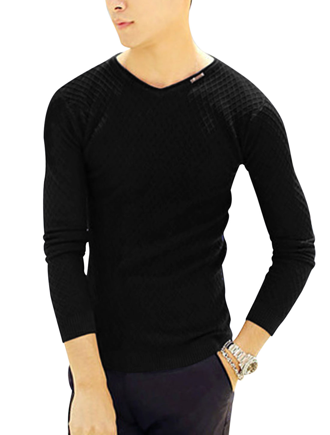 Man Black Long Sleeves Pullover V Neck Stretchy Plaids Design Knit Shirt S