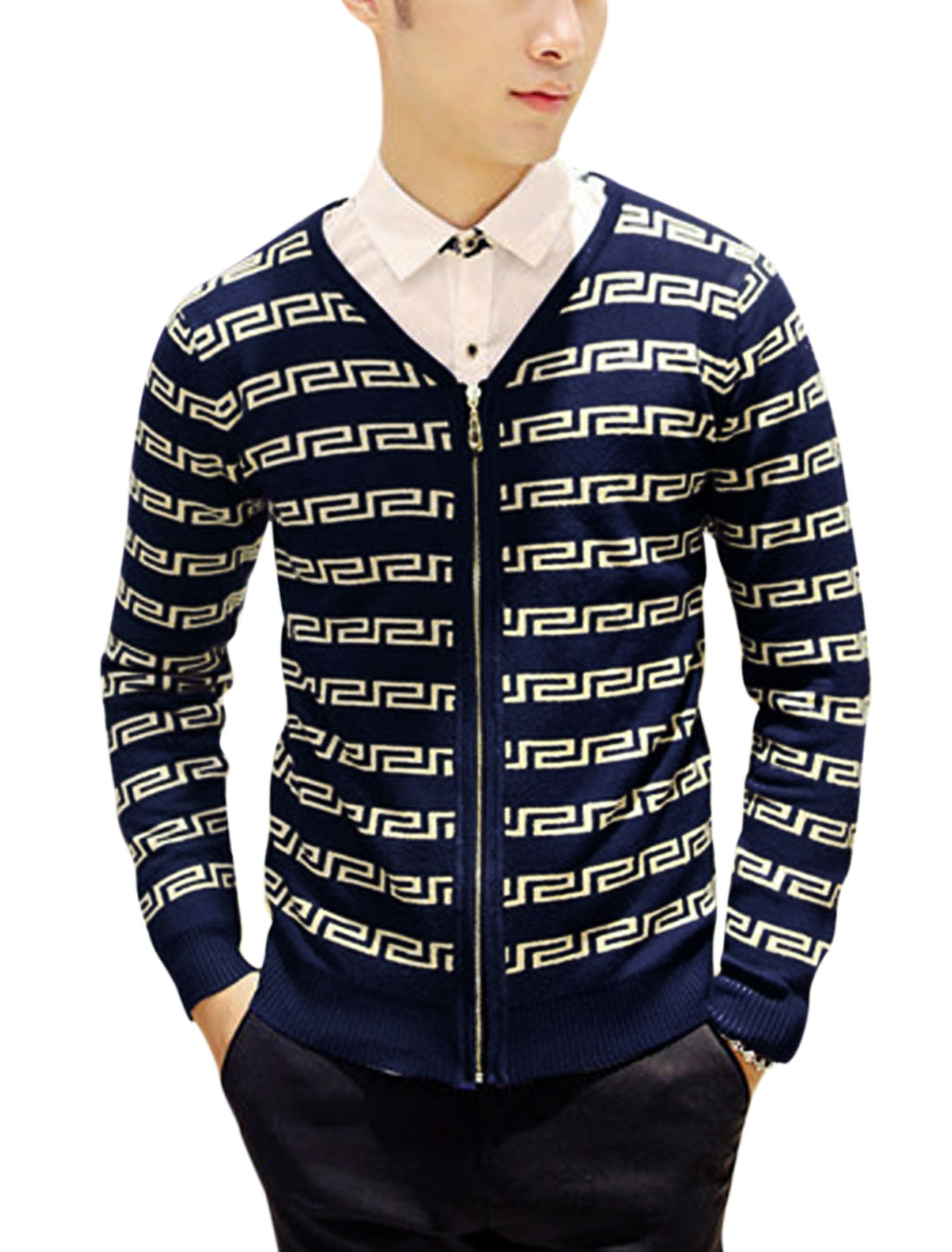 Man Navy Blue Long Sleeves V Neck Zippered Front Round Neck Cardigan S