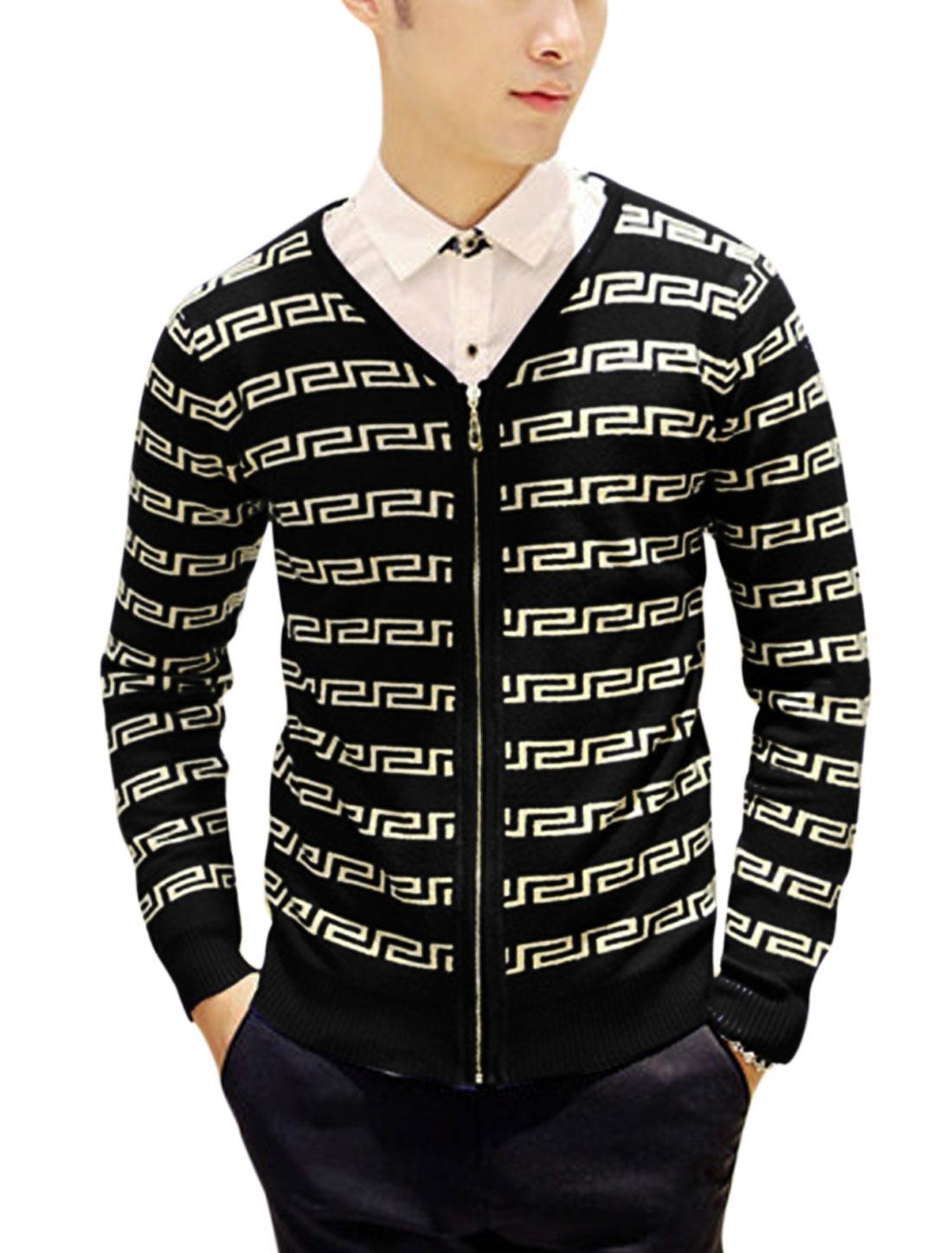 Man Black Long Sleeves V Neck Zip Closure Round Neck Cardigan S