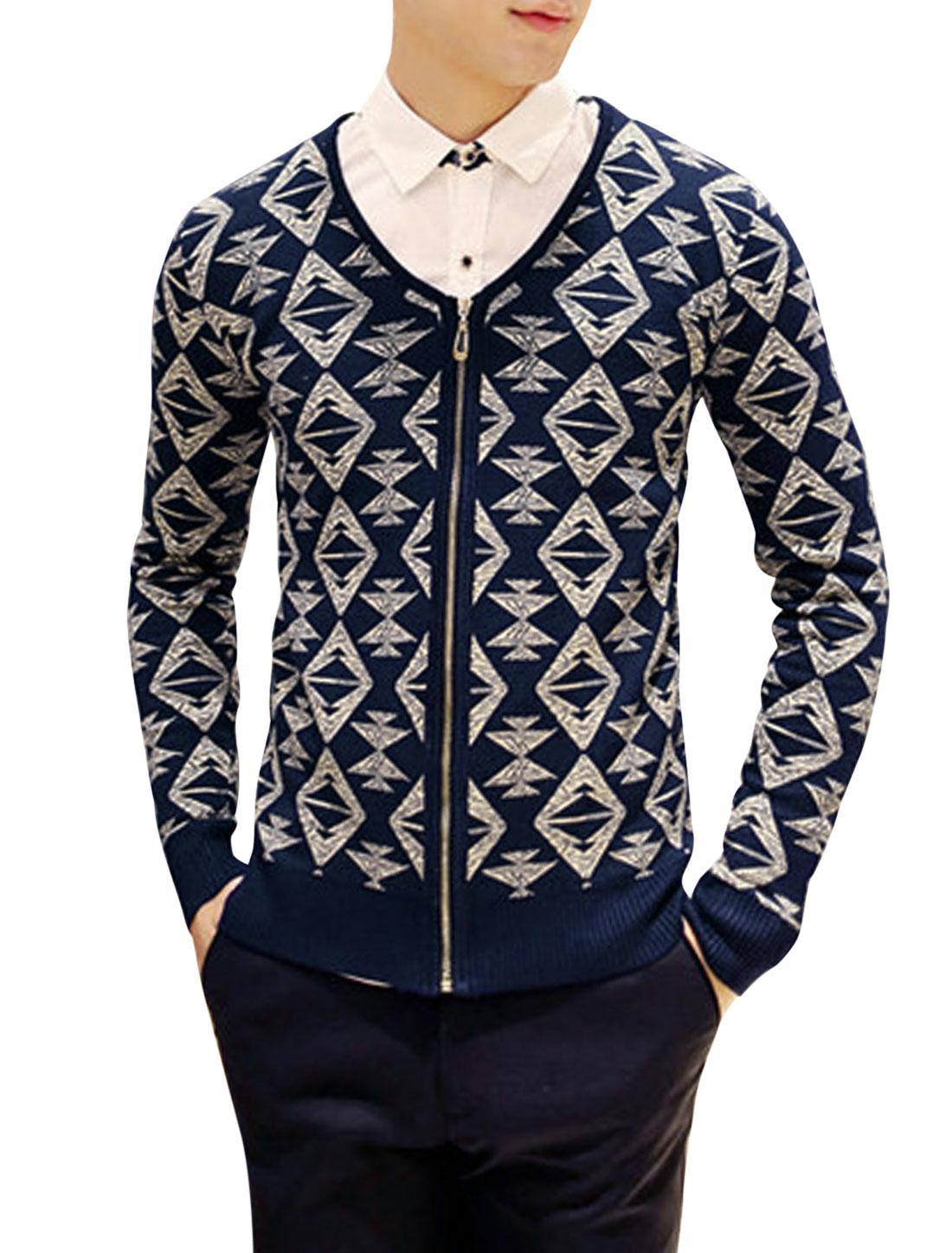 Man Navy Blue Long Sleeves V Neck Zippered Front Cardigan S