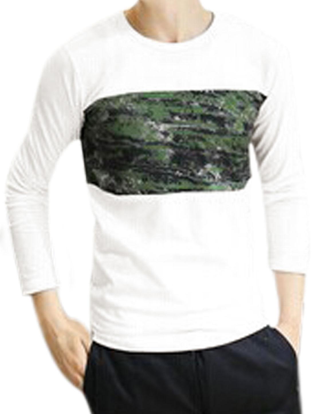 Men Round Neck Long Sleeve Novelty Prints Slim Casual T-shirt White S