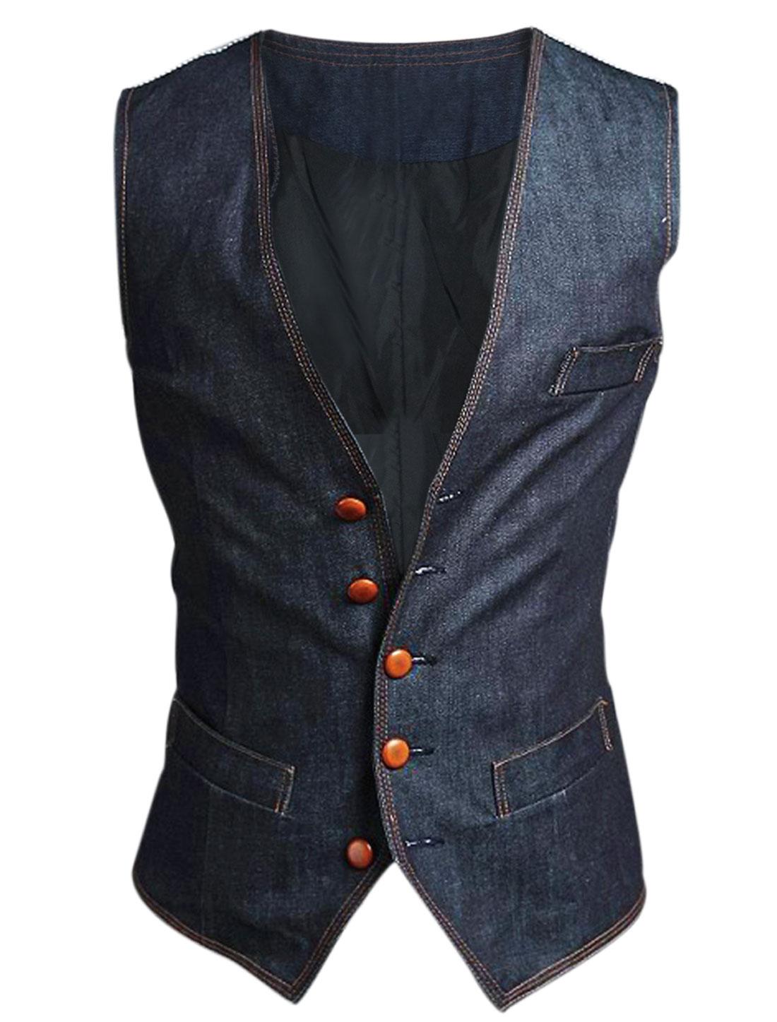 Men Single Breasted Spliced Stripes Back Double Pockets Denim Gilet Dark Blue M