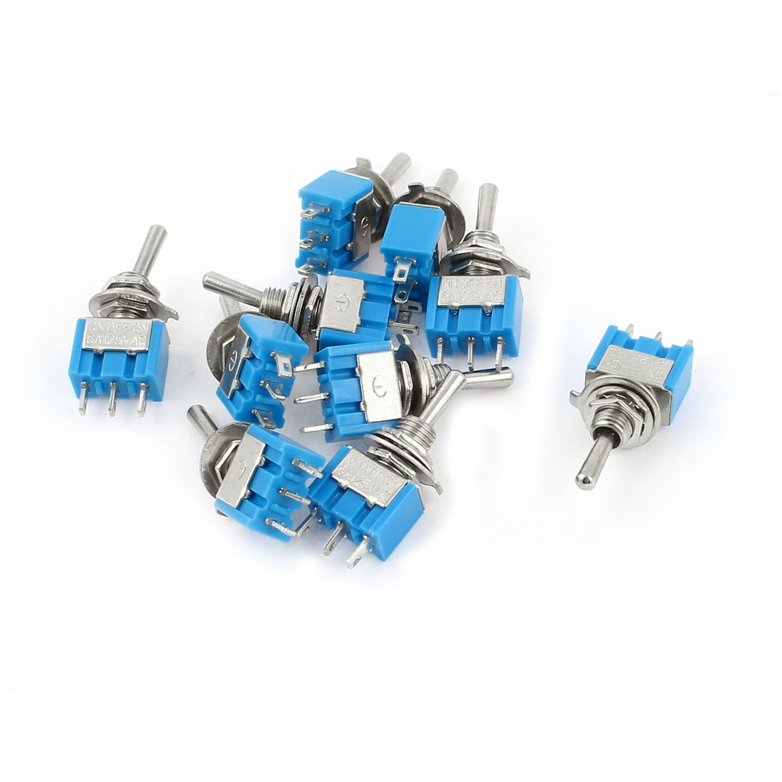 AC125V 6A SPDT 3 Terminals Self Locking On-Off-On Rocker Toggle Switch 10 Pcs