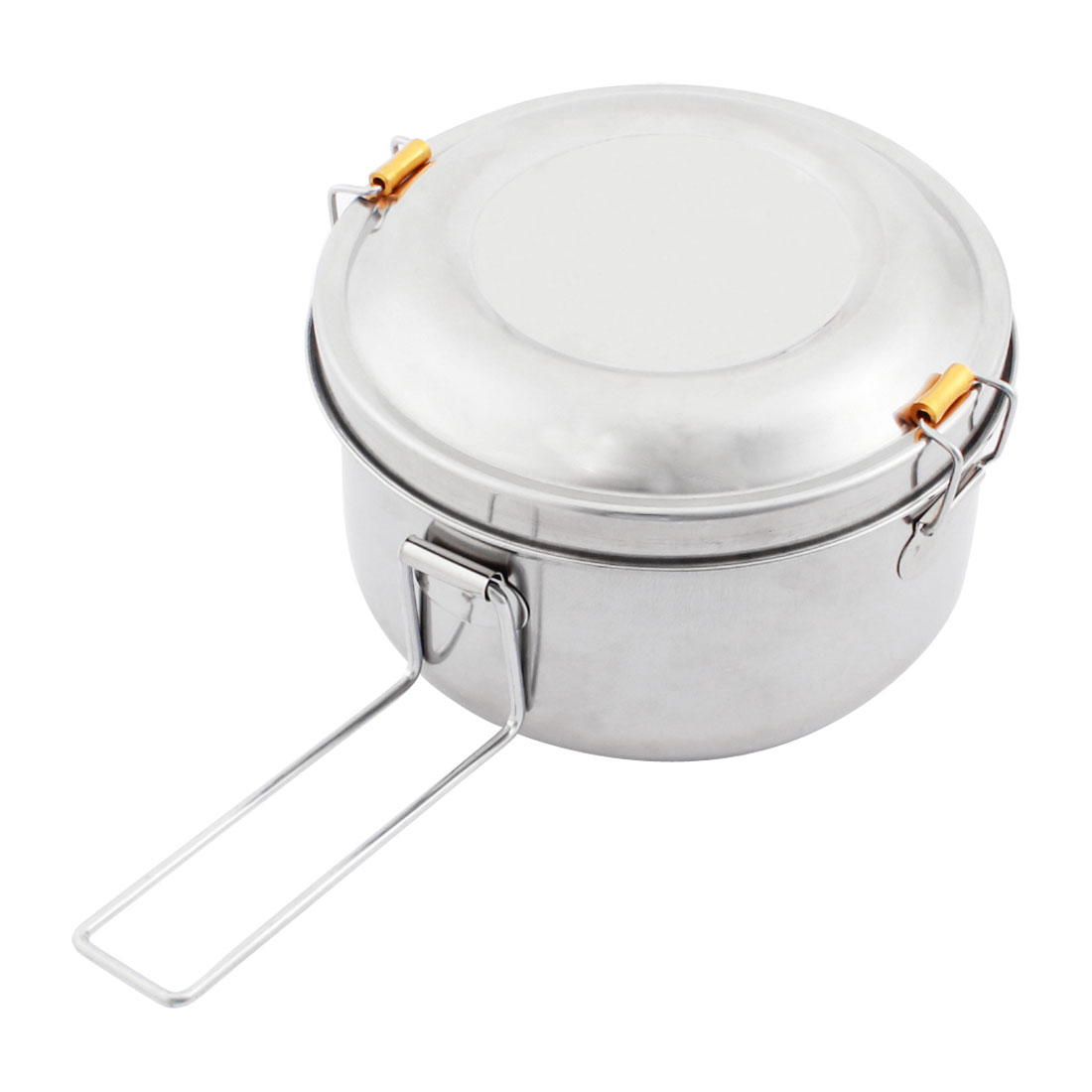 Detachable Handle Stainless Steel 2 Layers Round Shape Lunch Box