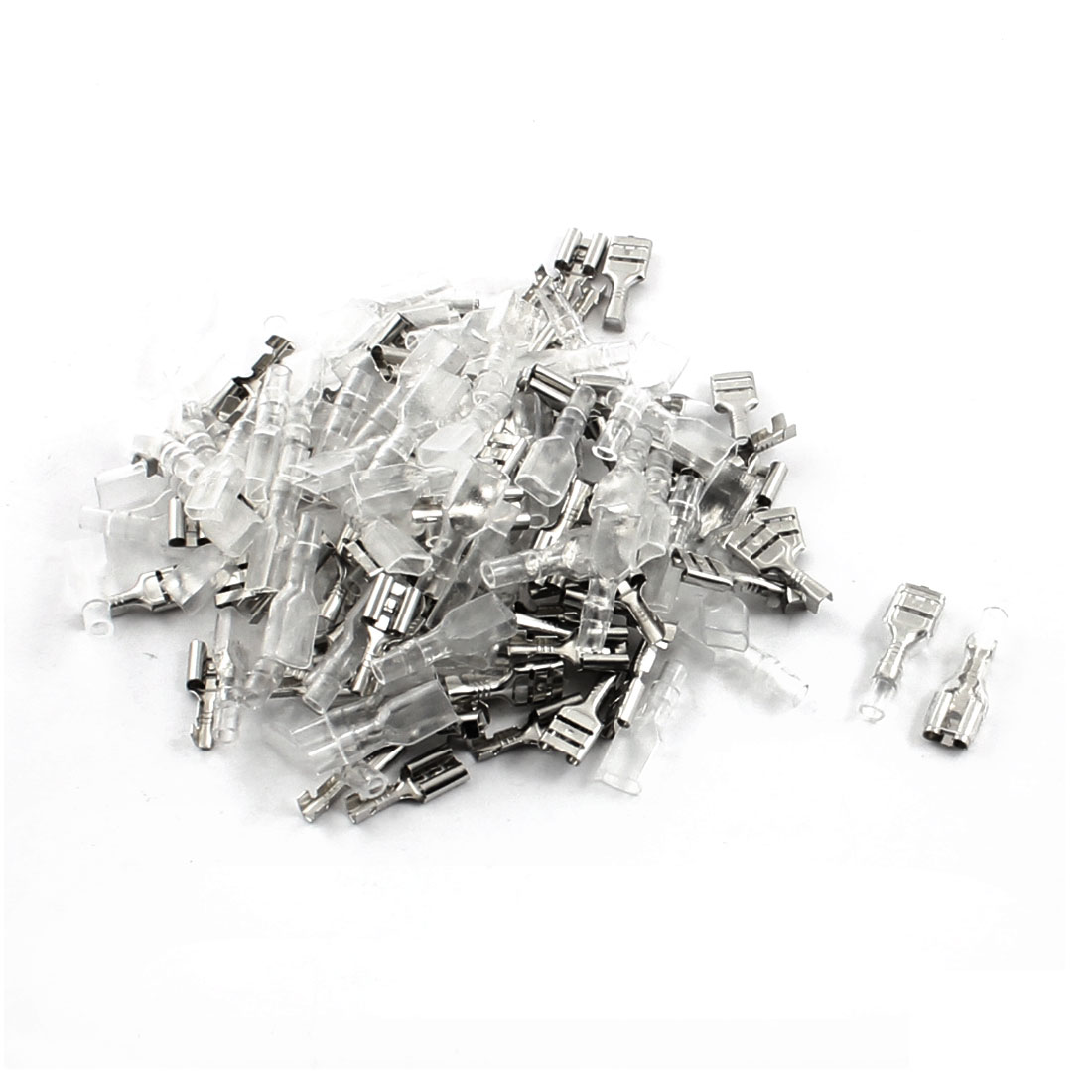 75Pcs 6.3mm Spade Crimp Cable Terminals Connector w PVC Insulated Cover