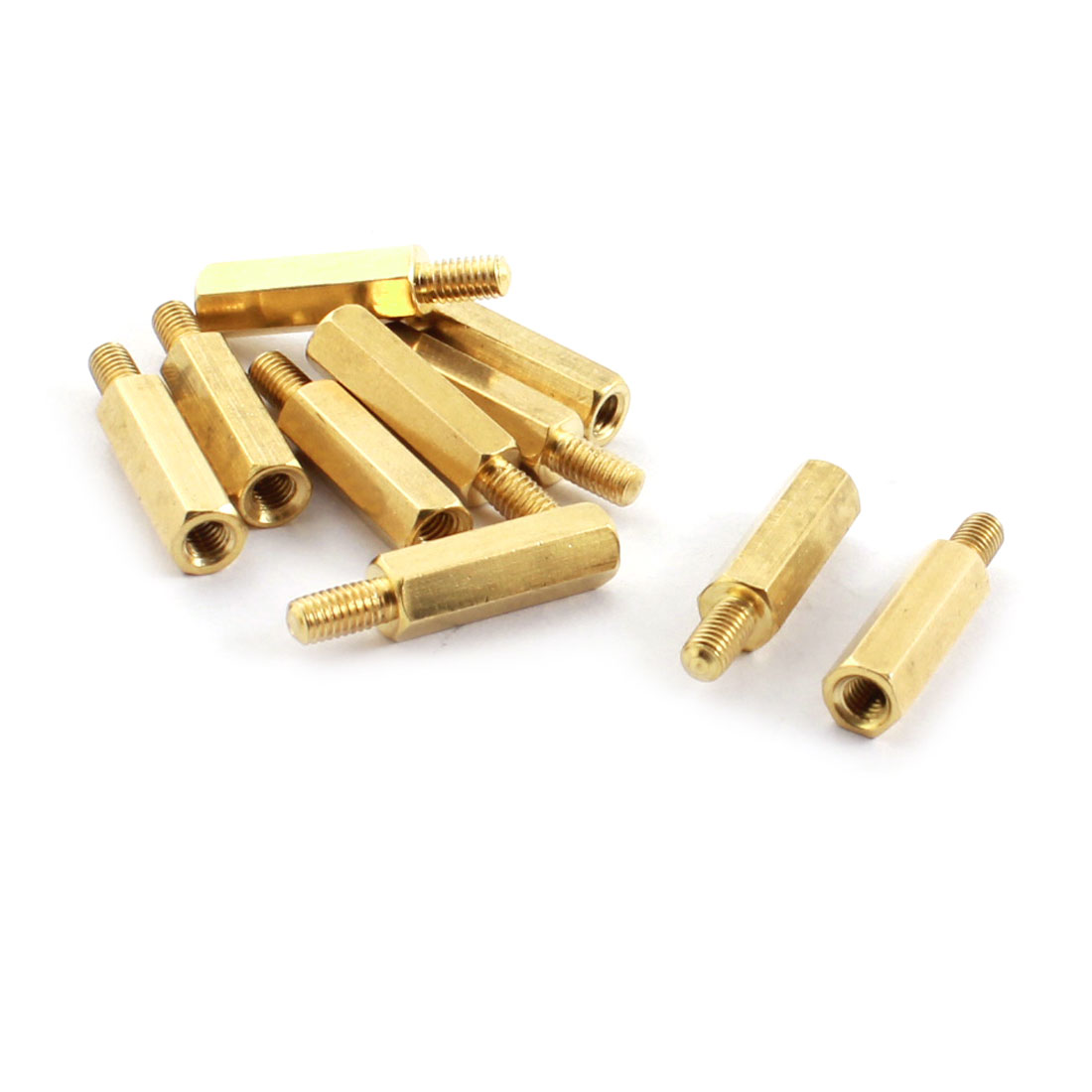 10pcs Male 5mm x M3 Female 15mm+5mm Brass Screw Standoff Spacer