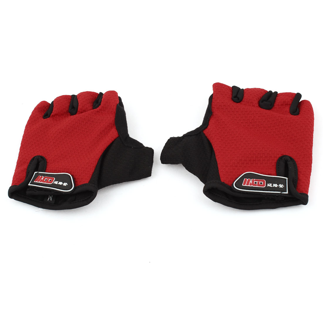 Outdoor Red Soft Sponge Pad Half Fingers Sports Gloves Protector Pair