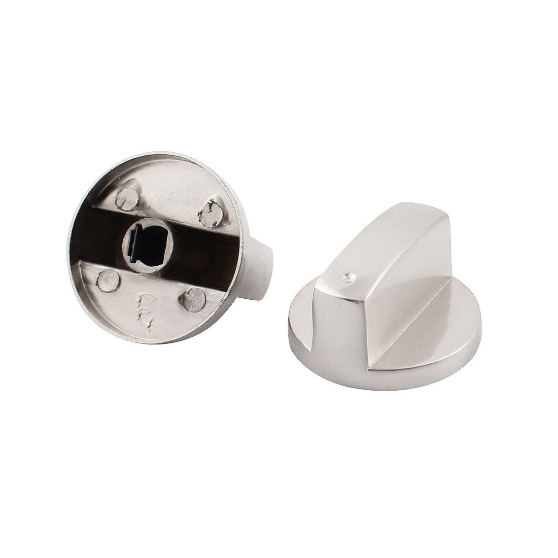 2 Pcs 40mm Dia Stainless Steel Grip Rotary Knob for Gas Stove Oven