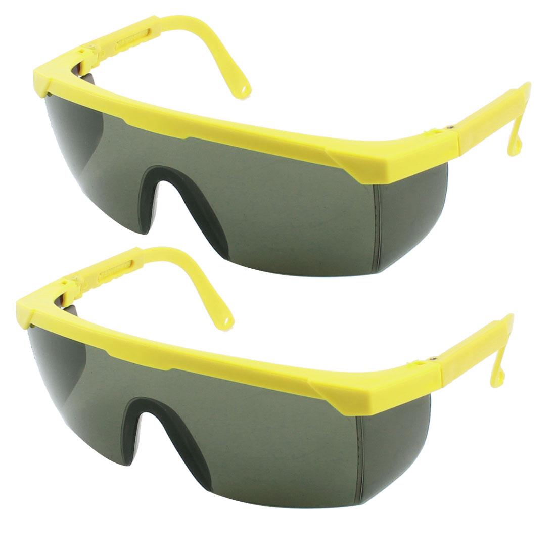 Yellow Adjustable Plastic Arms Protective Welding Glasses Eyewear 2pcs