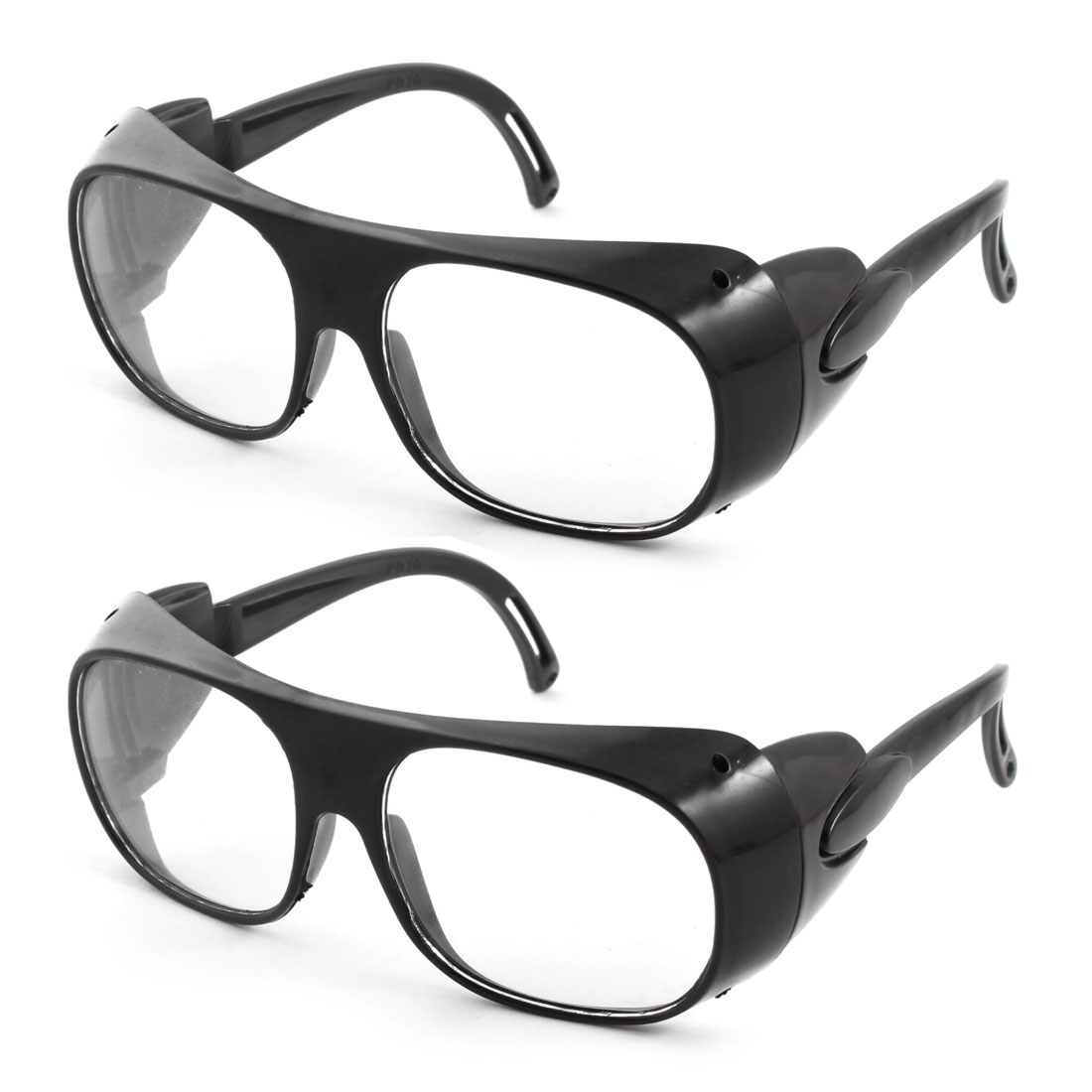 Black Plastic Arms Full Frame Protective Welding Plain Glasses 2pcs