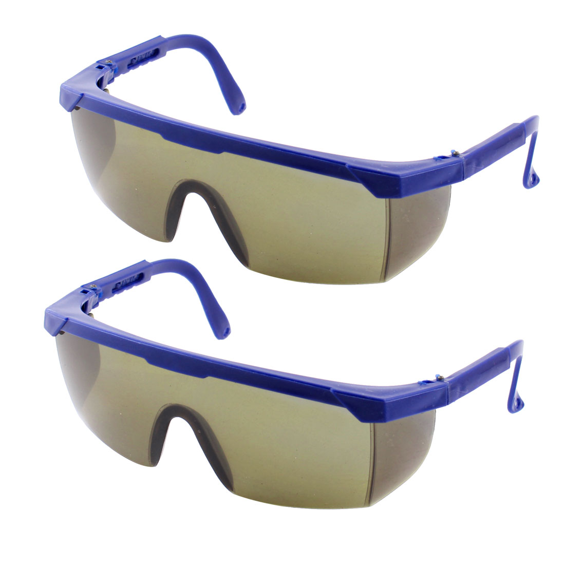 Blue Adjustable Plastic Arms Protective Welding Sunglasses Glasses 2pcs
