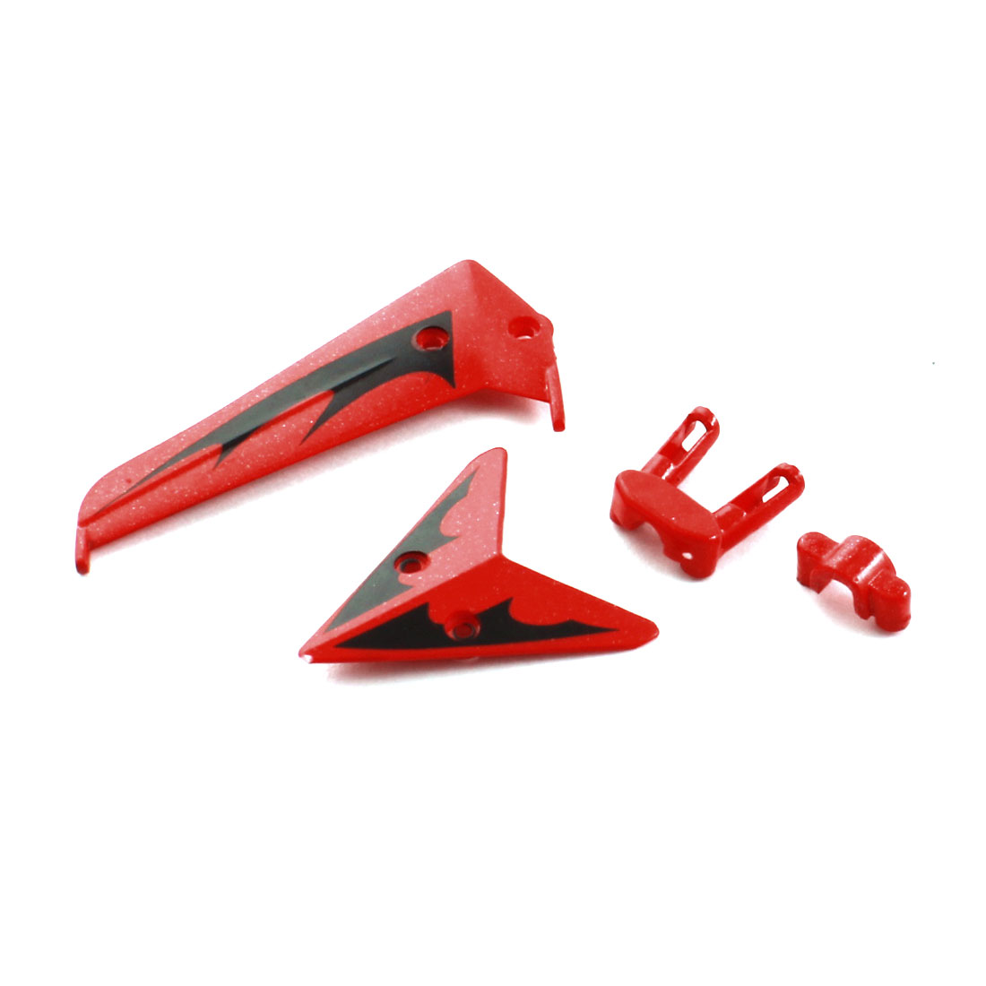 Red Plastic Tail Decorative Balance Vane Set Replacement for Syma S107G-02 Helicopter