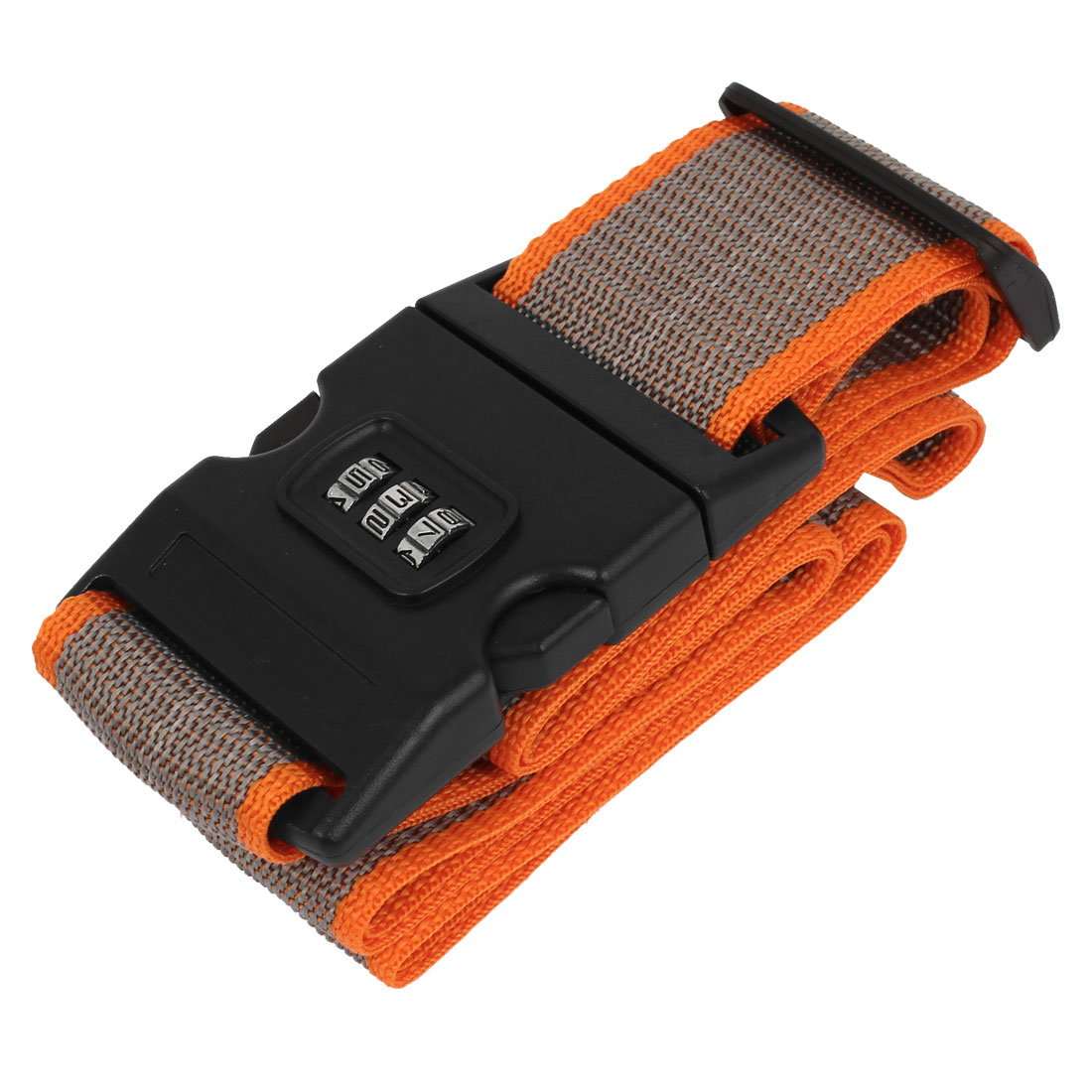 Release Buckle 3 Digits Password Combination Locking Luggage Strap Gray Orange