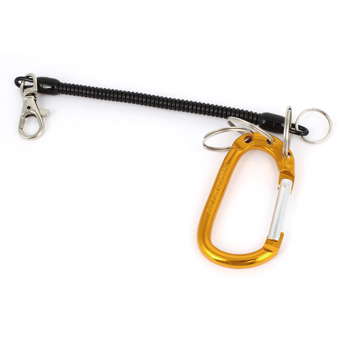 Golden Yellow Carabiner Hook Black Spring Stretchy Coil Keyring Key Chain Strap w Lobster Clasp
