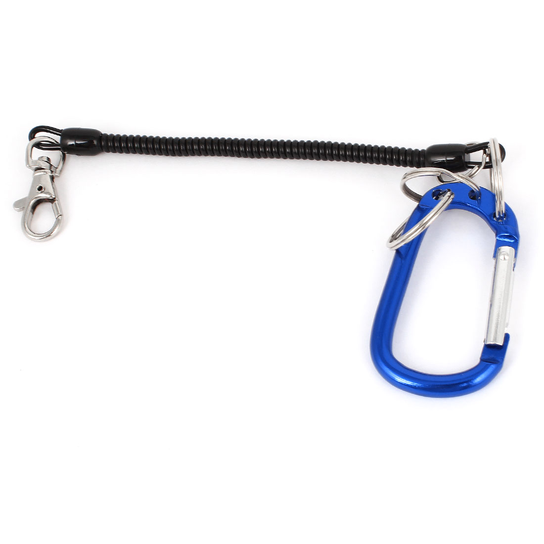 Blue Carabiner Hook Black Spring Stretchy Coil Keyring Key Chain Strap w Lobster Clasp