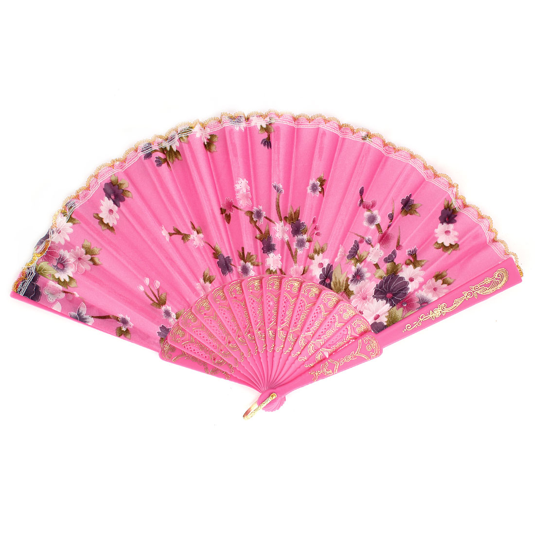 Flower Pattern Lace Trim Plastic Ribs Dancing Folding Hand Fan Pink