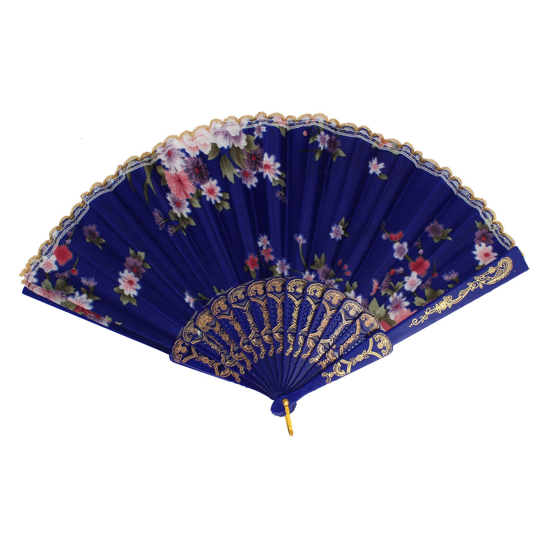 Floral Pattern Lace Trim Plastic Frame Dancing Folding Hand Fan Dark Blue
