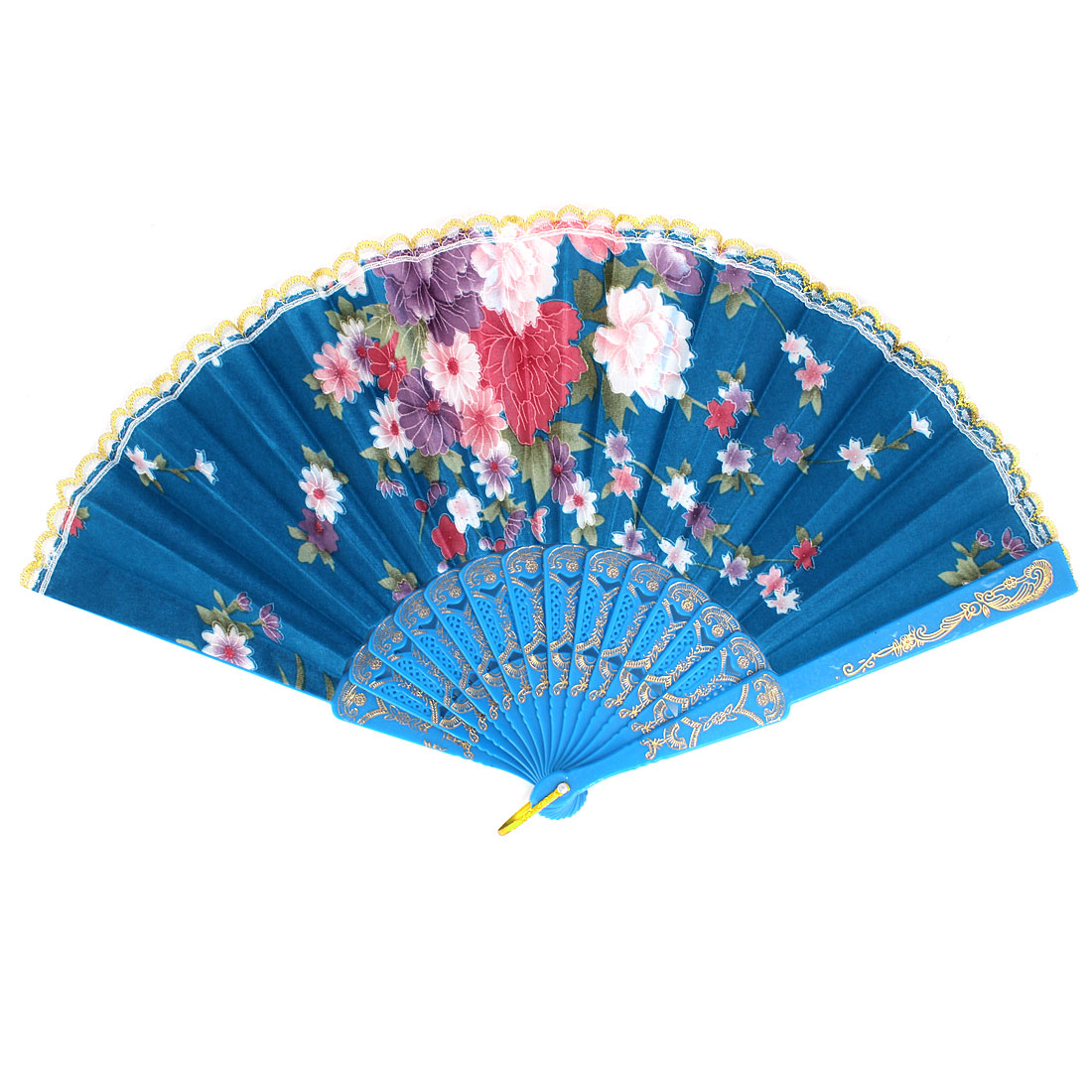 Flower Pattern Lace Trim Plastic Ribs Dancing Folding Hand Fan Blue