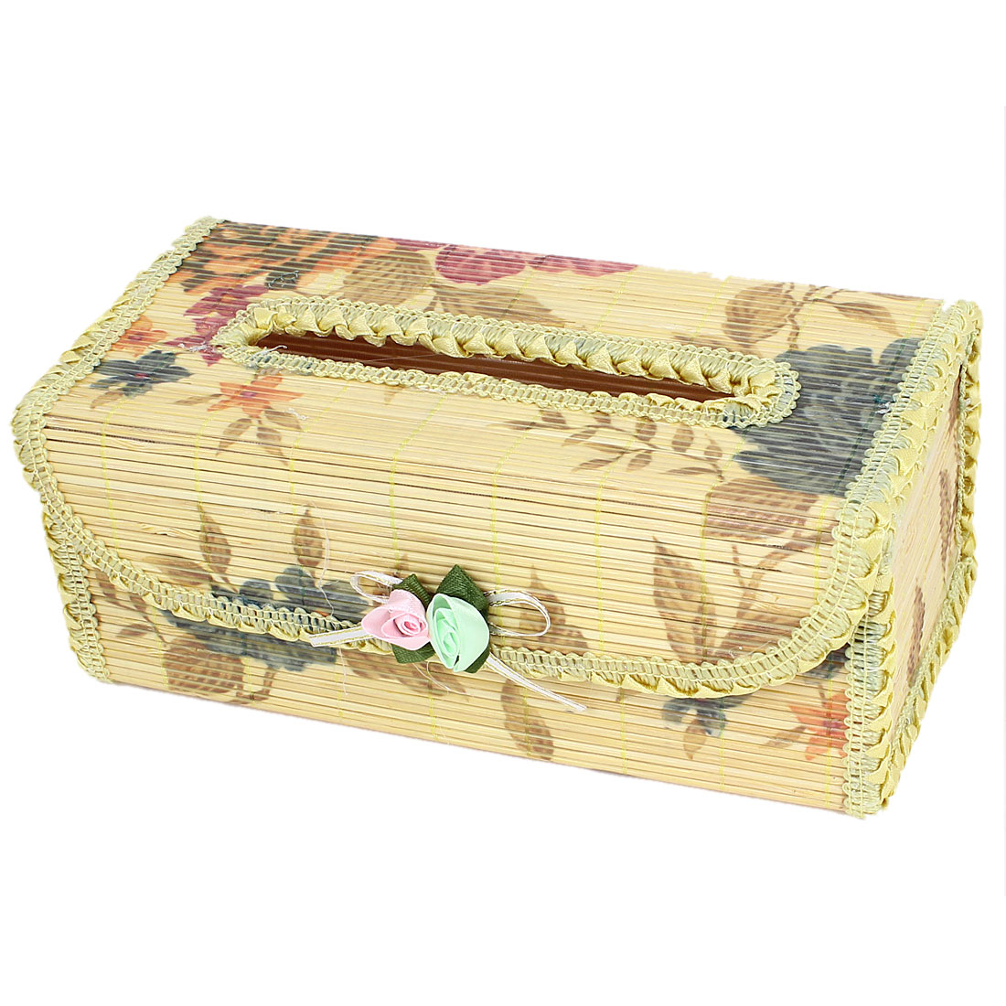 Rectangle Shape Flowers Pattern Handmade Bamboo Tissue Box Holder Beige