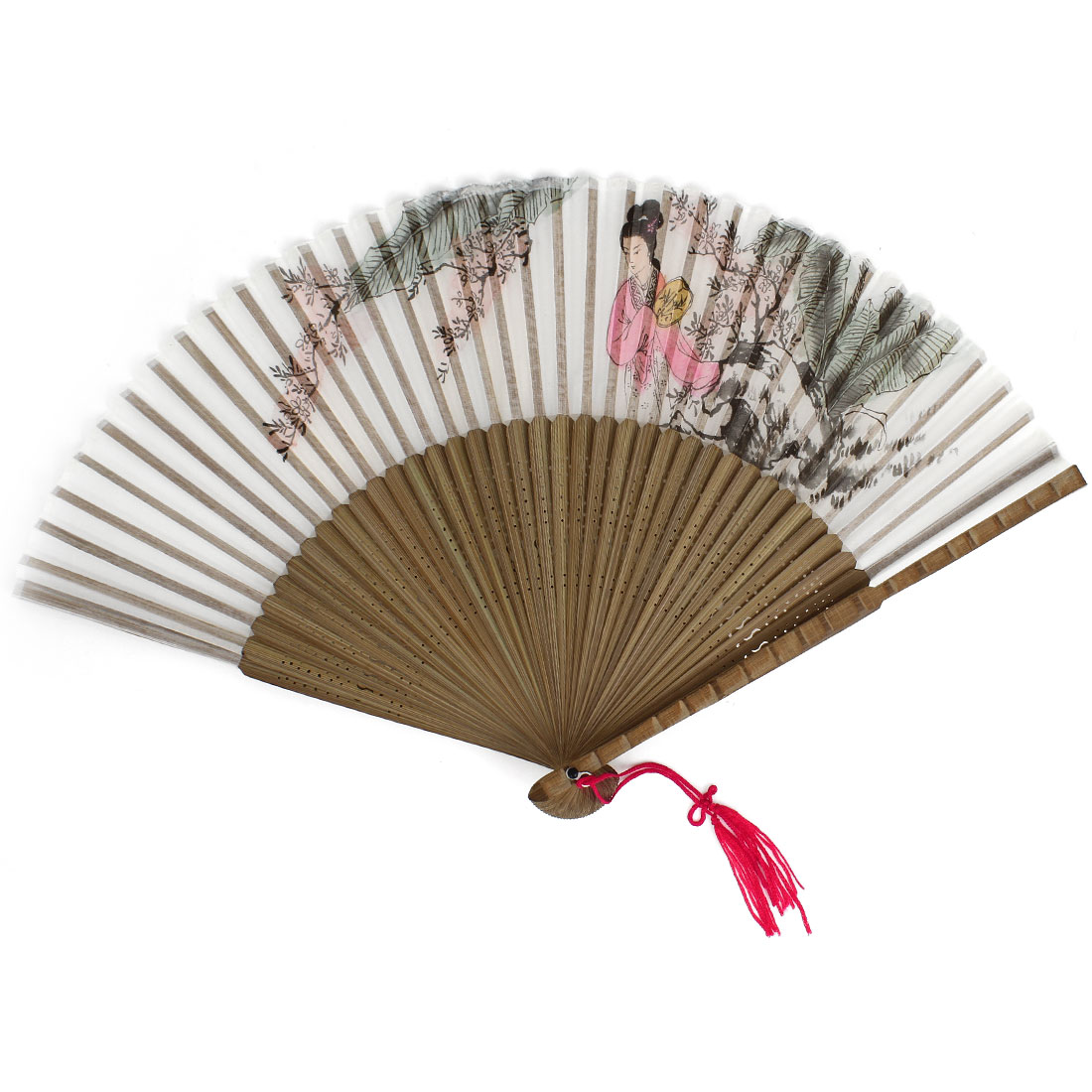 Flowers Beauty Pattern Tassels Decor Bamboo Ribs Folding Hand Fan Gray