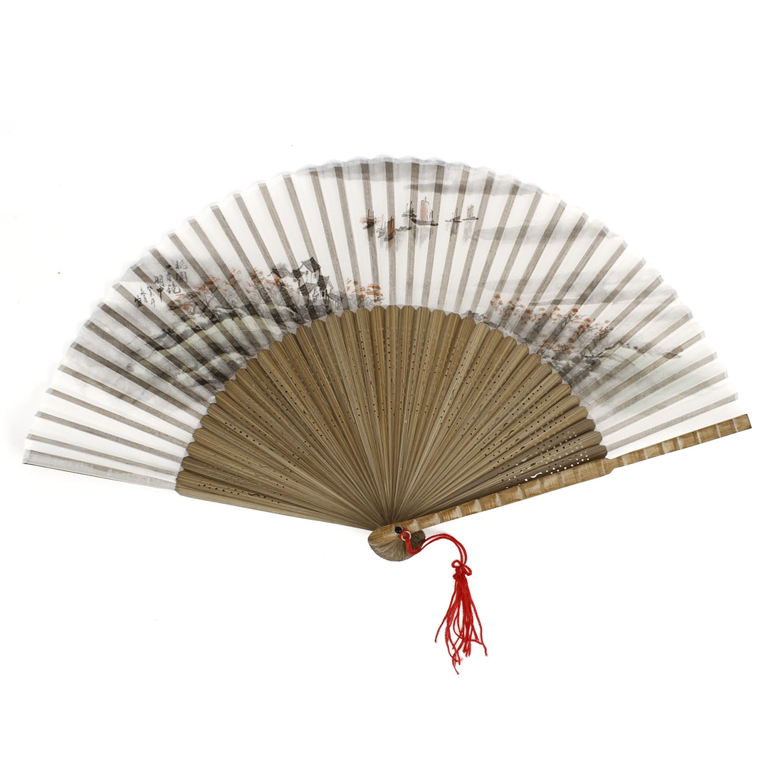 Tree Boat Pattern Tassels Decor Bamboo Ribs Folding Hand Fan Gray