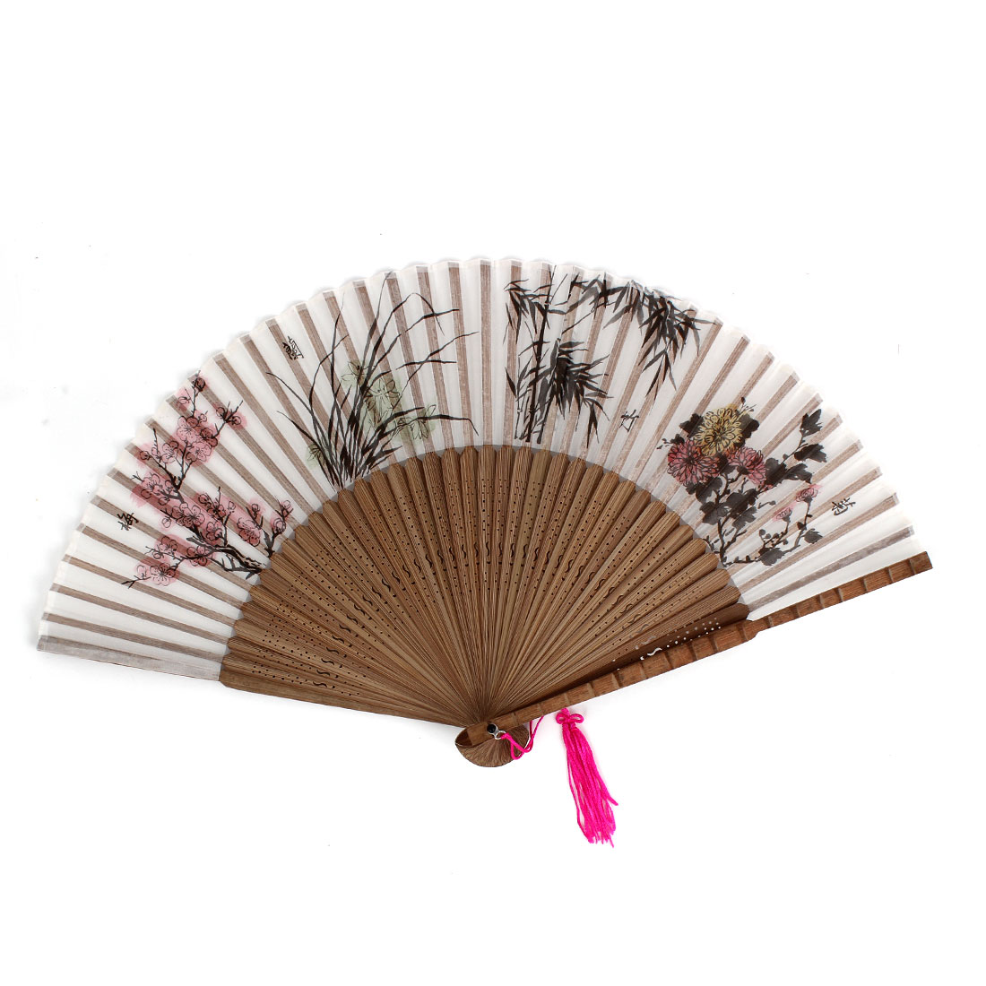 Flowers Bamboo Pattern Tassels Decor Hollow out Frame Folding Hand Fan Gray