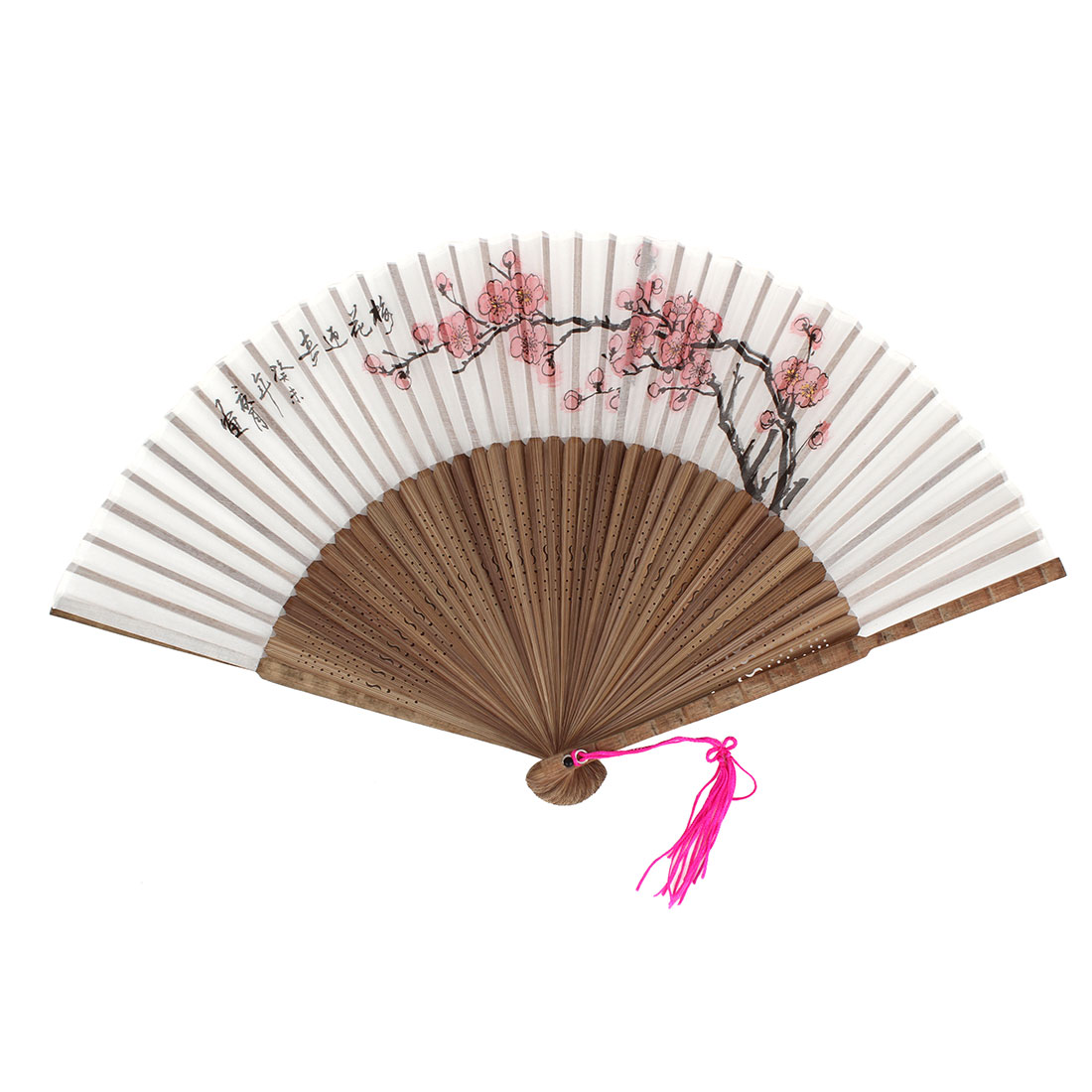 Plum Blossom Pattern Tassels Decor Bamboo Ribs Folding Hand Fan Gray