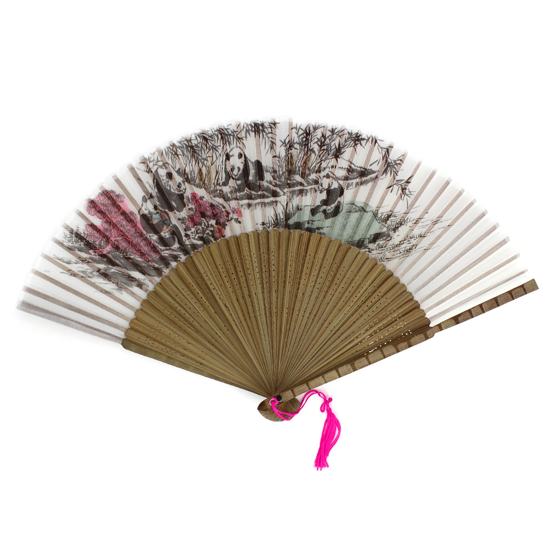 Pandas Bamboo Pattern Tassels Decor Hollow out Ribs Folding Hand Fan Gray