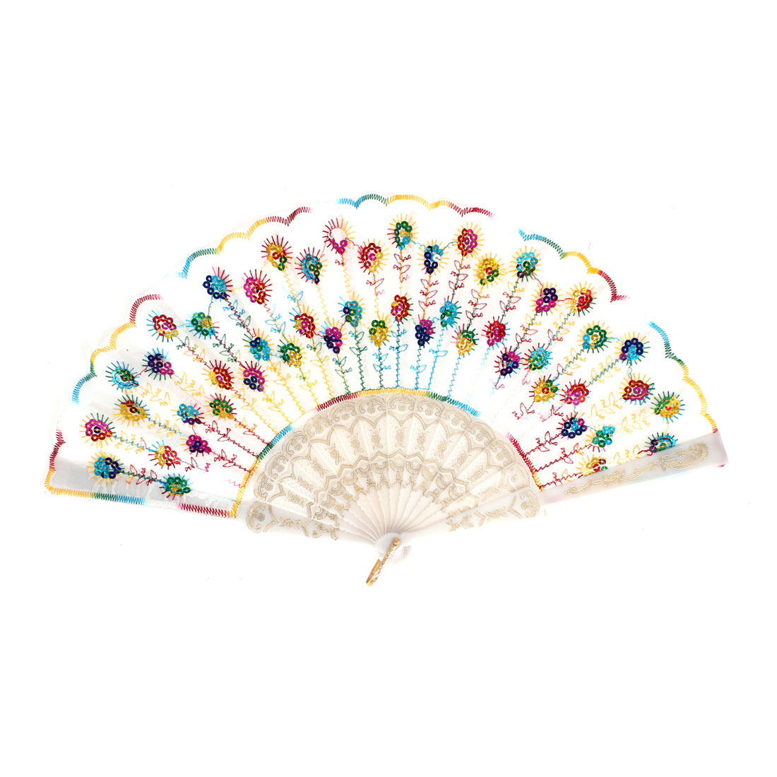 Multicolor Sequins Embroidered Plastic Ribs Folding Hand Fan White