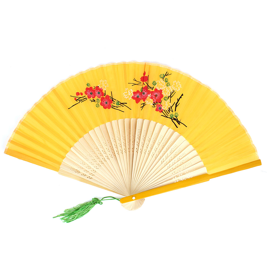 Flowers Pattern Tassels Decor Bamboo Ribs Folding Hand Fan Yellow Beige