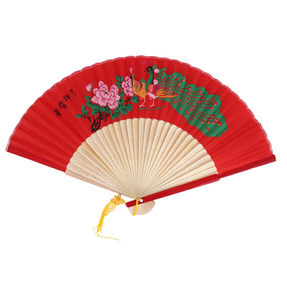 Peacock Floral Pattern Tassels Decor Bamboo Ribs Folding Hand Fan Red Beige