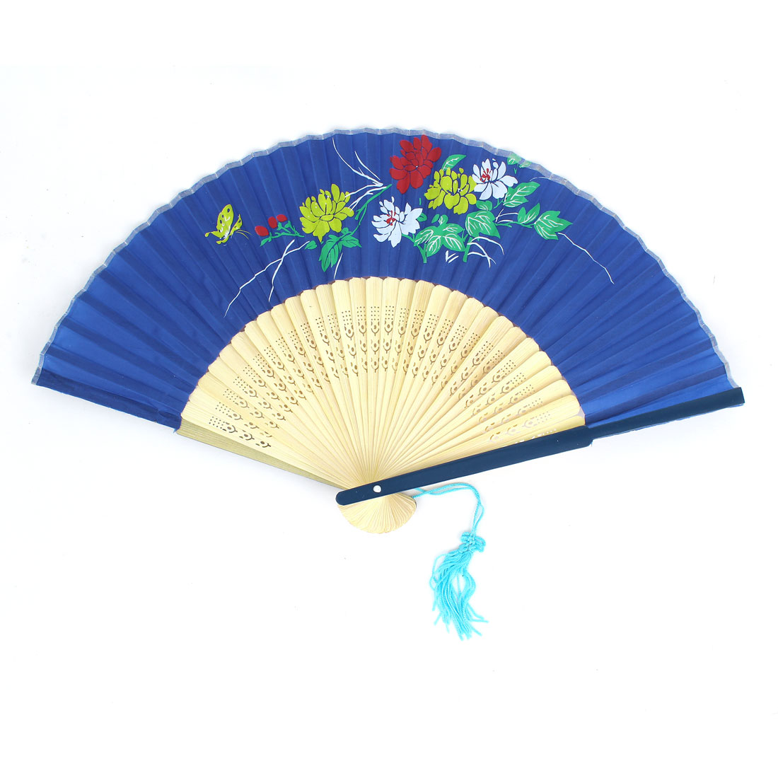Flowers Pattern Tassels Decor Bamboo Ribs Folding Hand Fan Blue Beige
