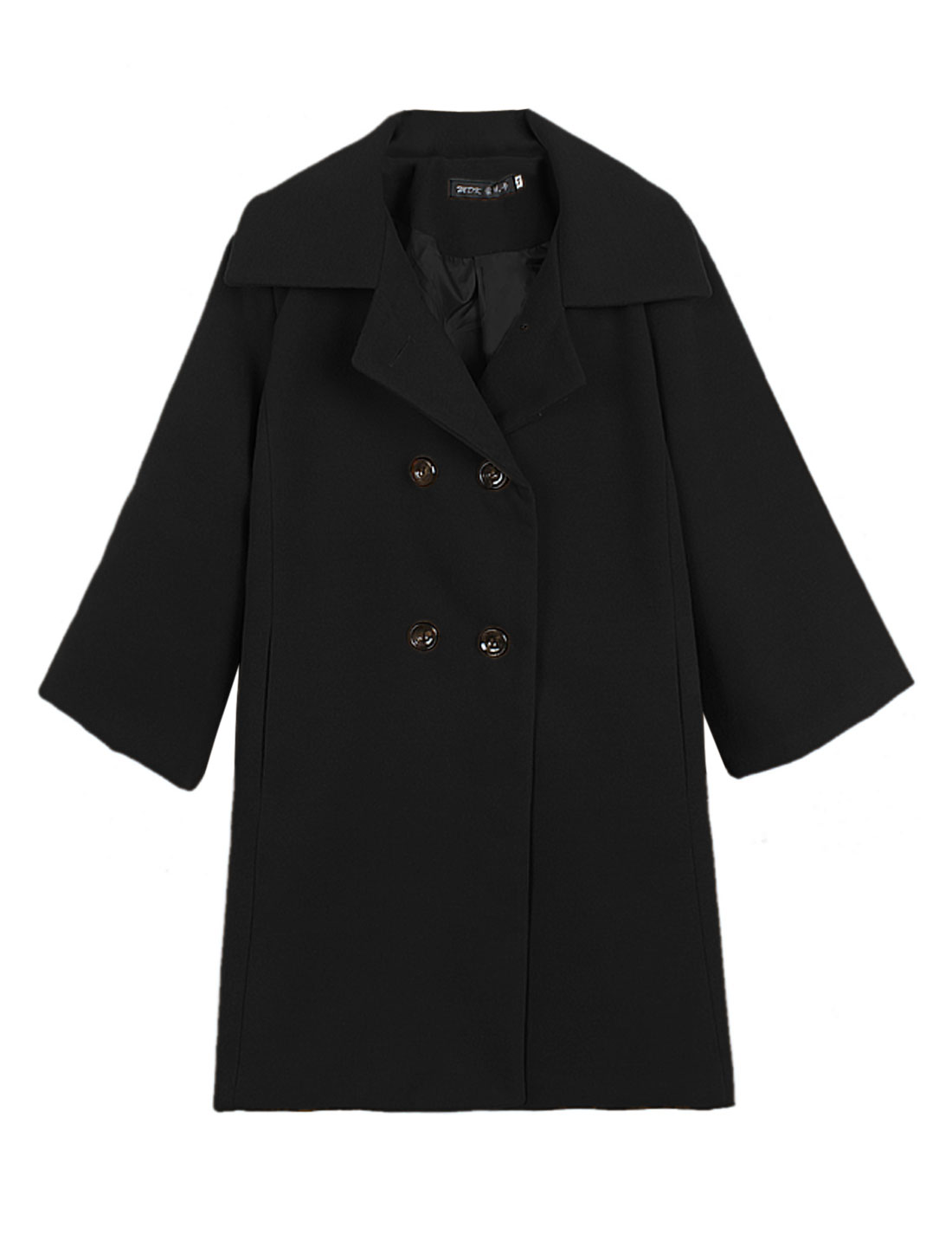 Lady Turn Down Collar Double Breasted Casual Worsted Trench Coat Black M
