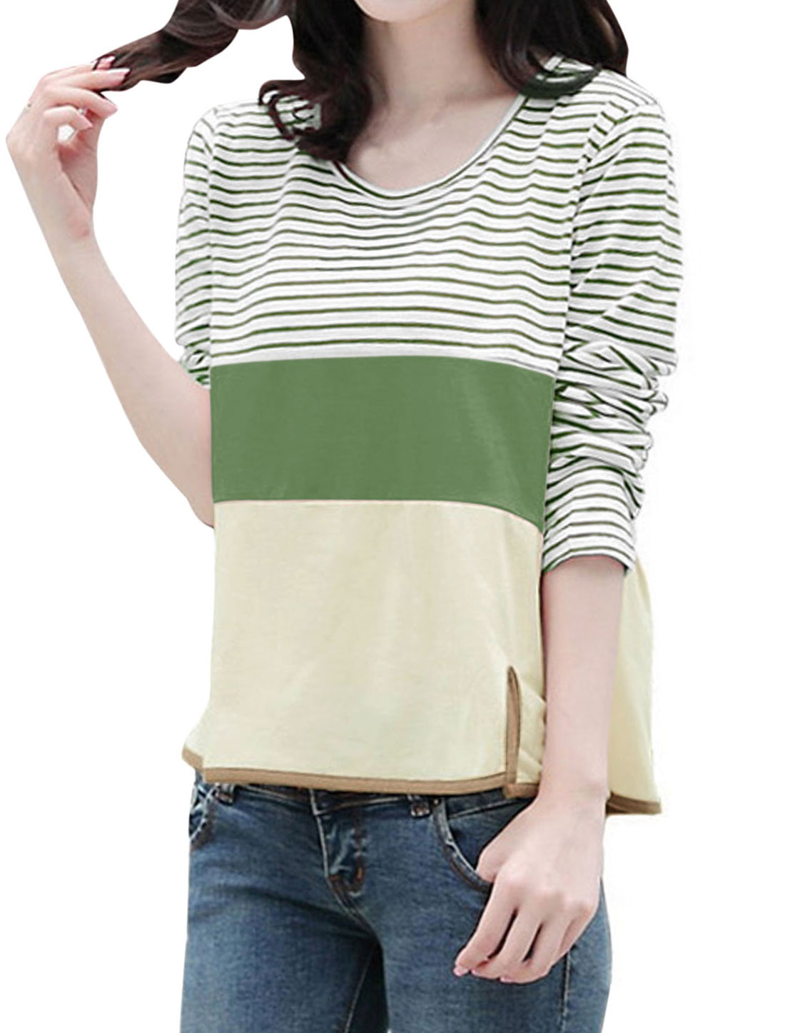 Lady Long Sleeve Round Neck Stripes Upper Cut Out Shirt Dark Green White S