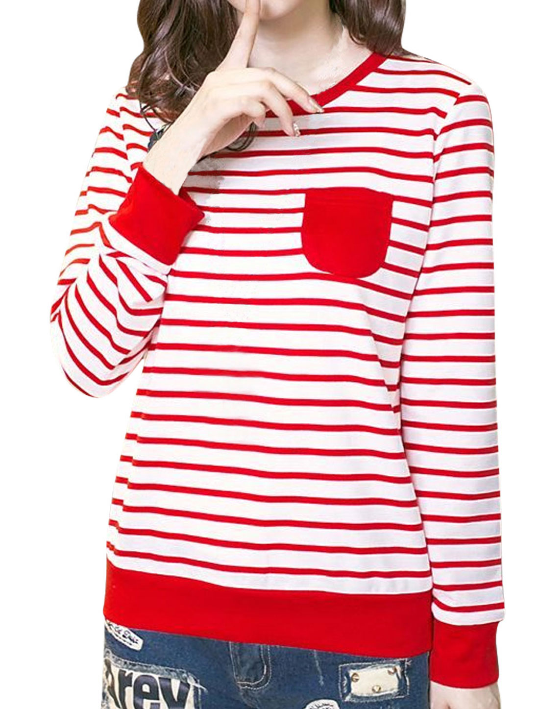Lady Long Sleeve Bust Pocket Round Neck Stripes Shirt Red White M