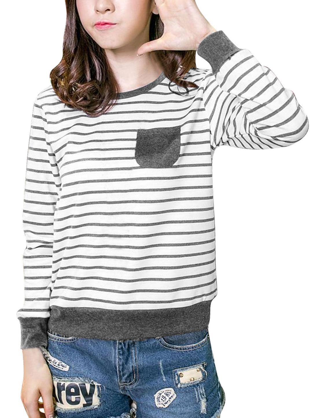 Ladies Stripes Round Neck Long Sleeve Shirt Dark Grey White M