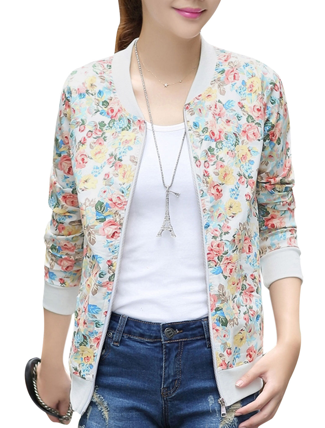 Women Floral Prints Long Sleeve Stand Collar Casual Jacket White S