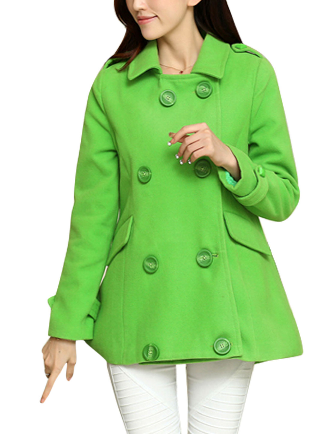 Women Point Collar Long Sleeve Single Breasted Worsted Coat Apple Green S