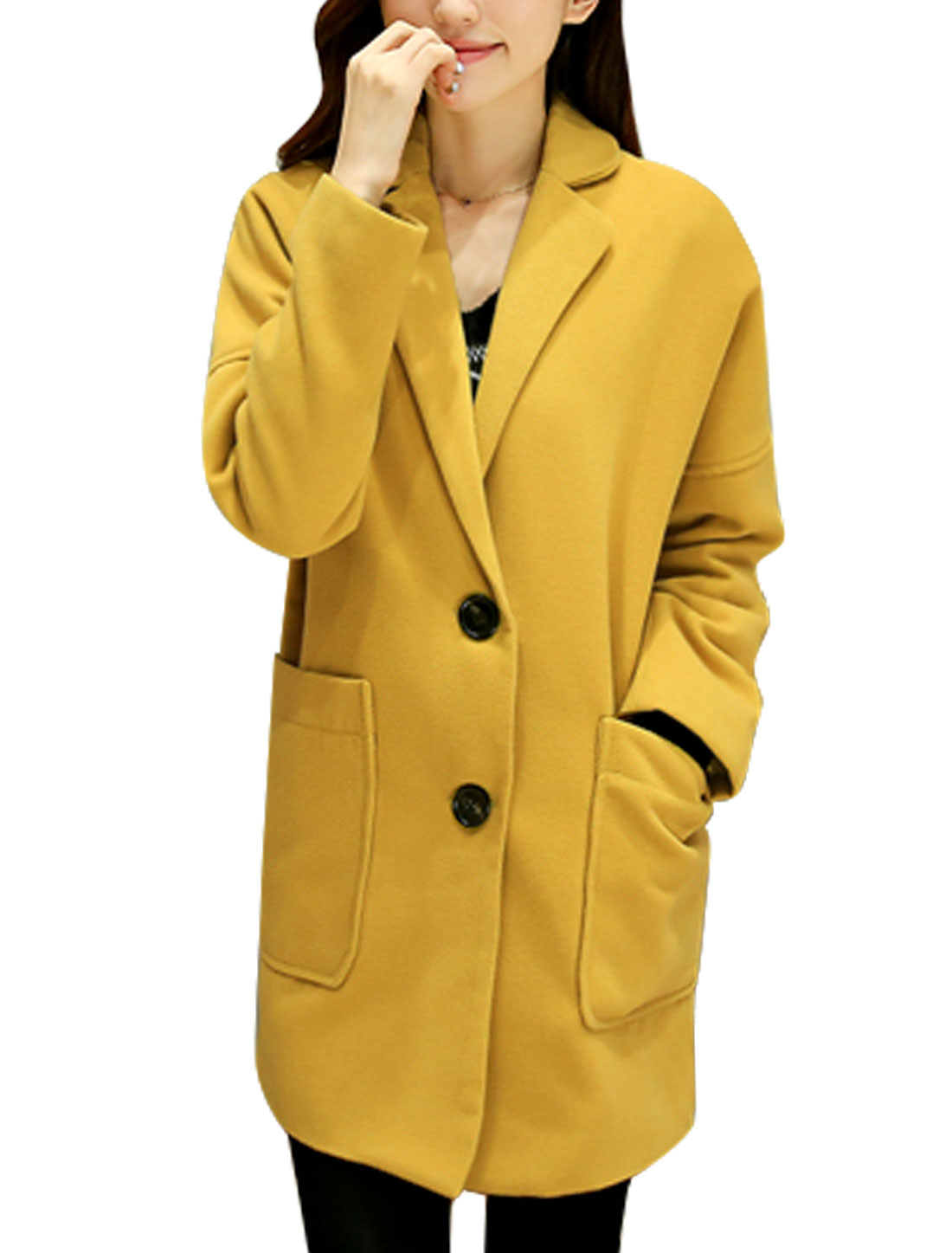 Women Notched Lapel Bat Sleeve Button Closure Worsted Coat Ochre S
