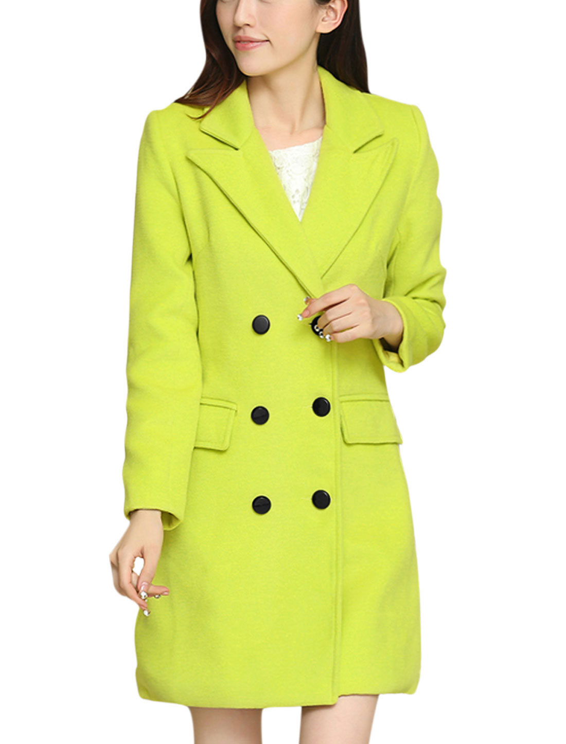 Women Button Closure Peaked Lapel Long Sleeve Worsted Coat Green Yellow M