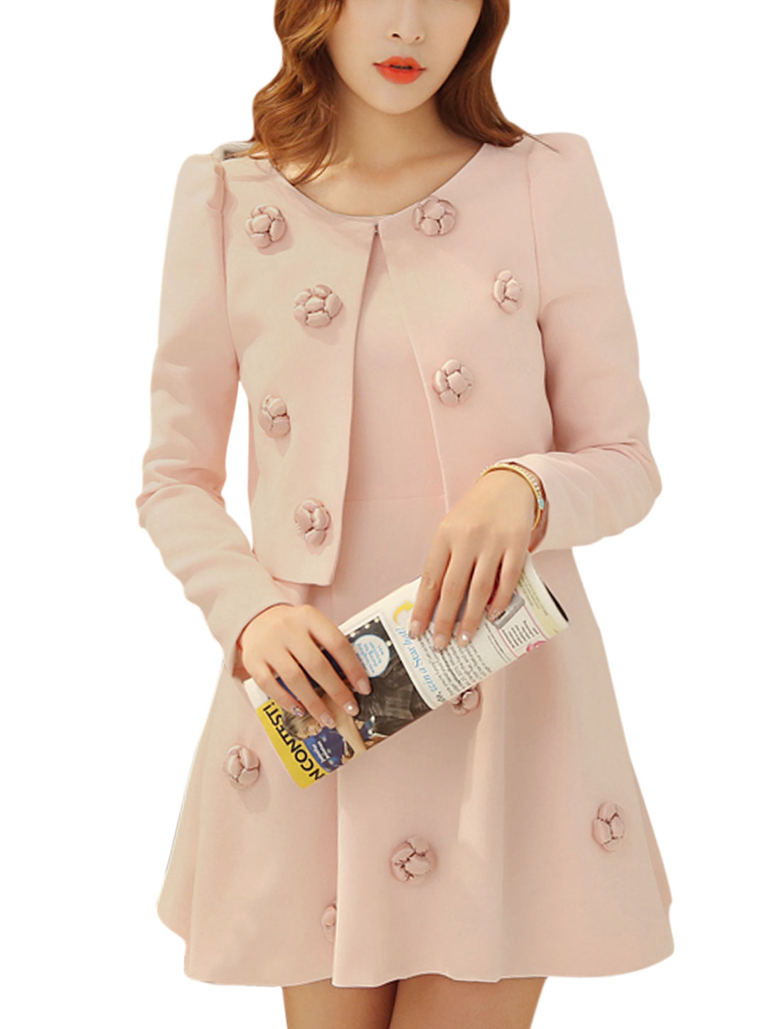 Lady Front Opening Casual Jacket w Hidden Zipper Back Soft Dress Light Pink S