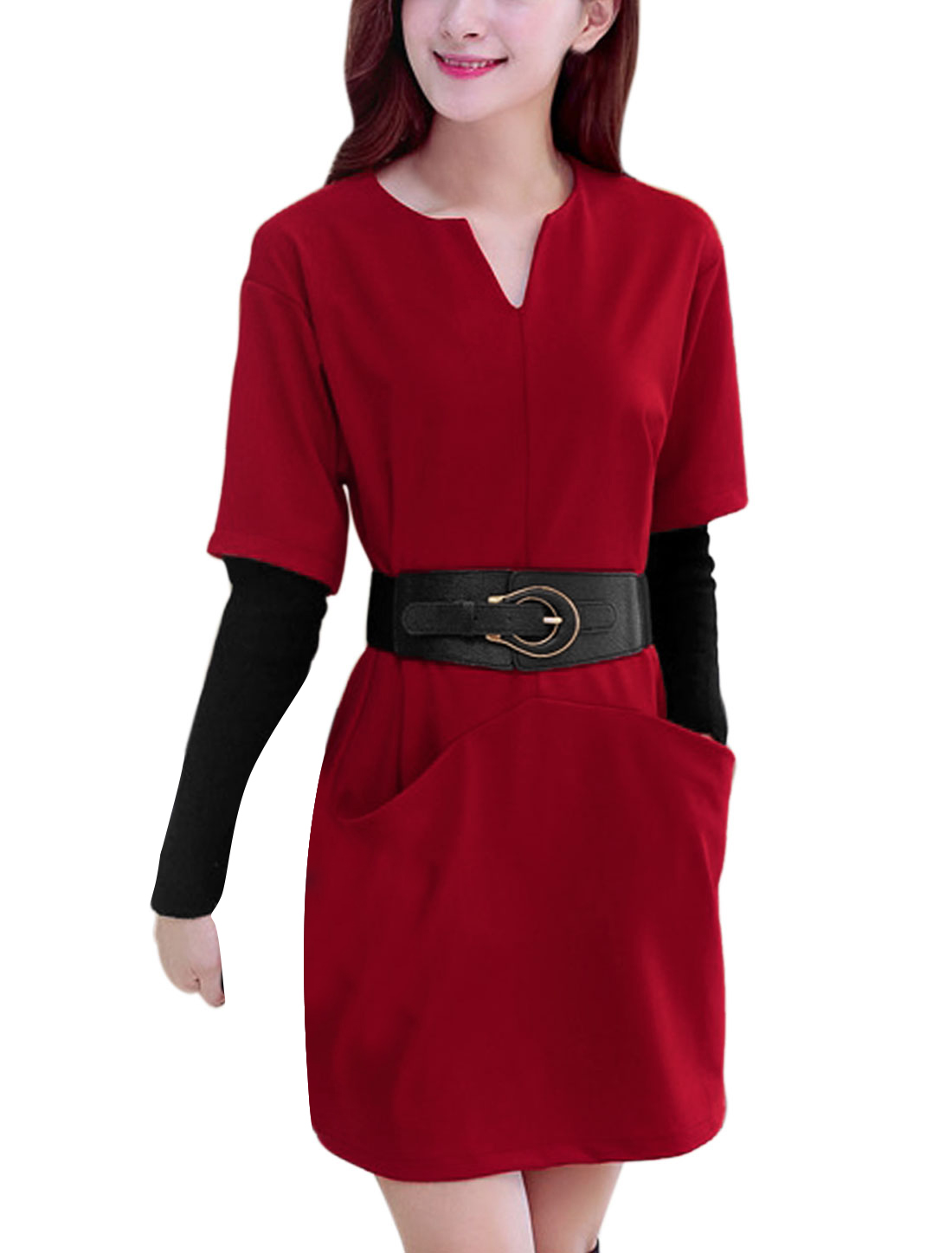 Lady V Neck Double Pockets Front Casual Straight Dress w Belt Red S