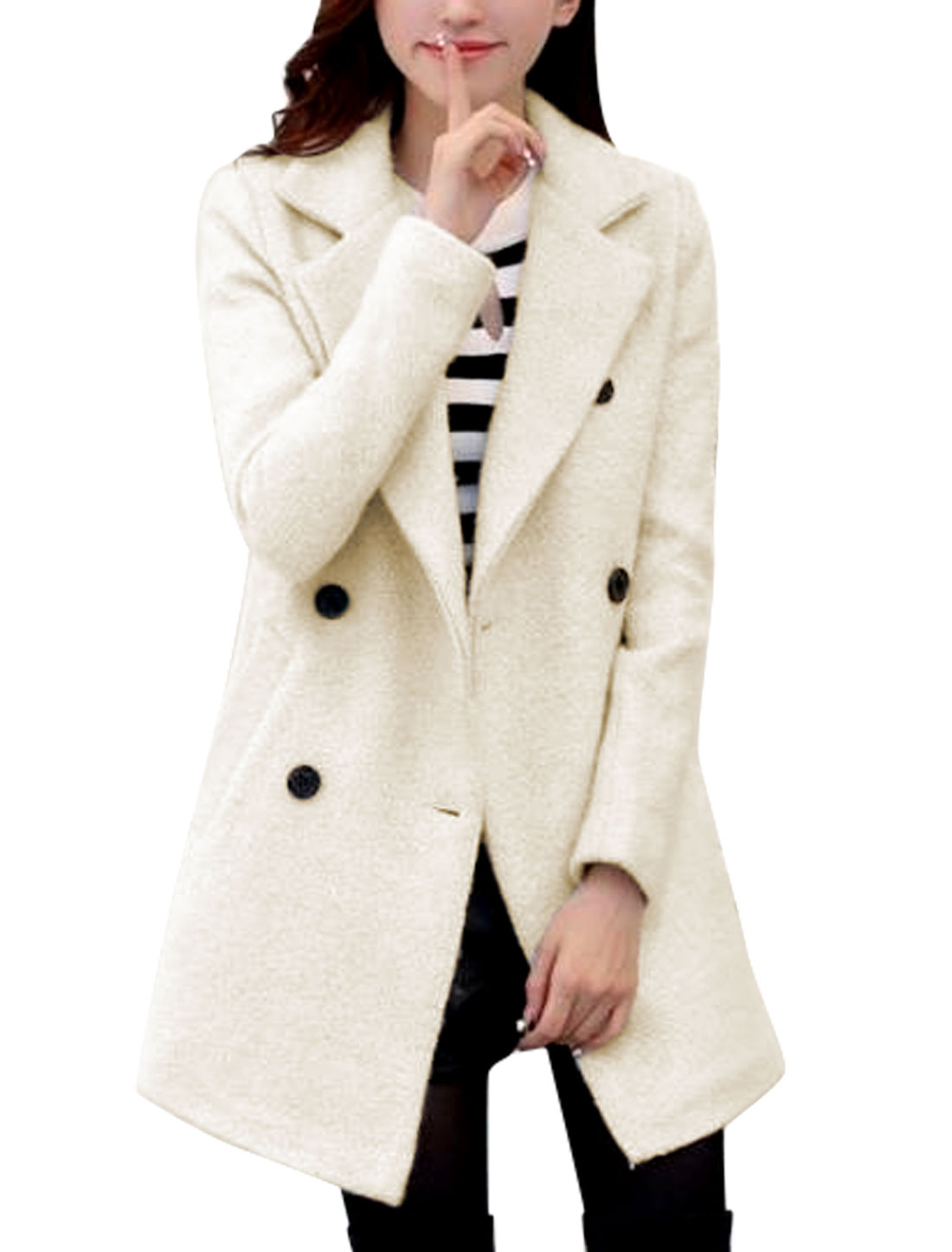 Lady Notched Lapel Double Breasted Casual Worsted Trench Coat Beige S