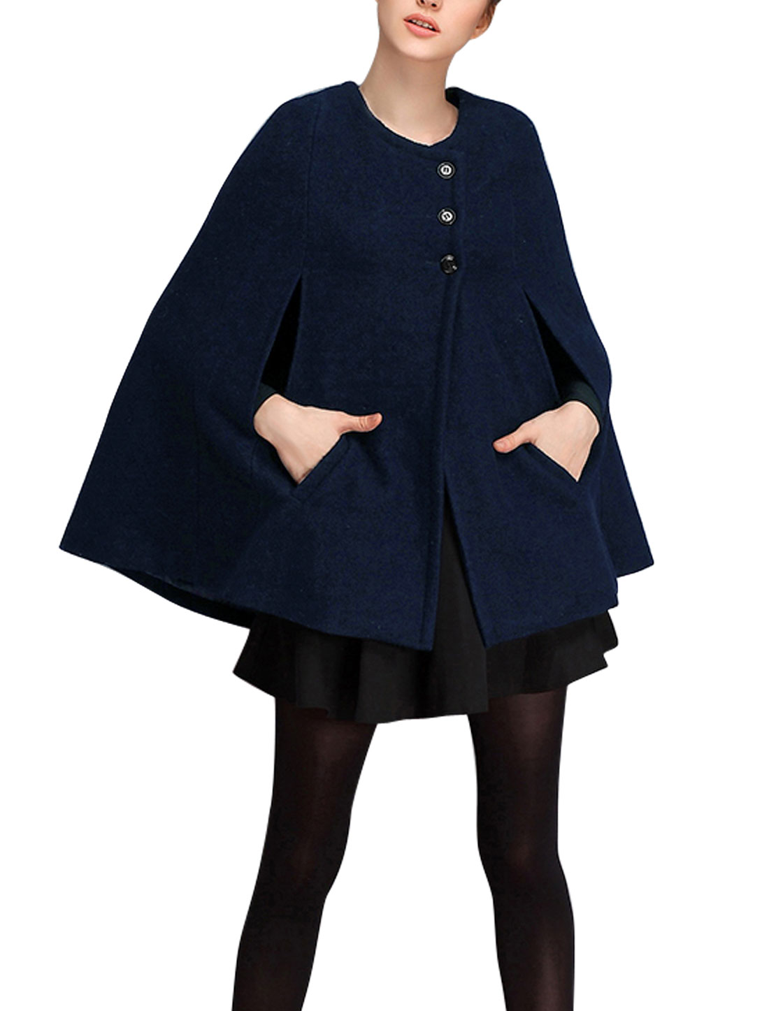 Women Button Closure Sleeveless Double Slant Pockets Poncho Navy Blue S